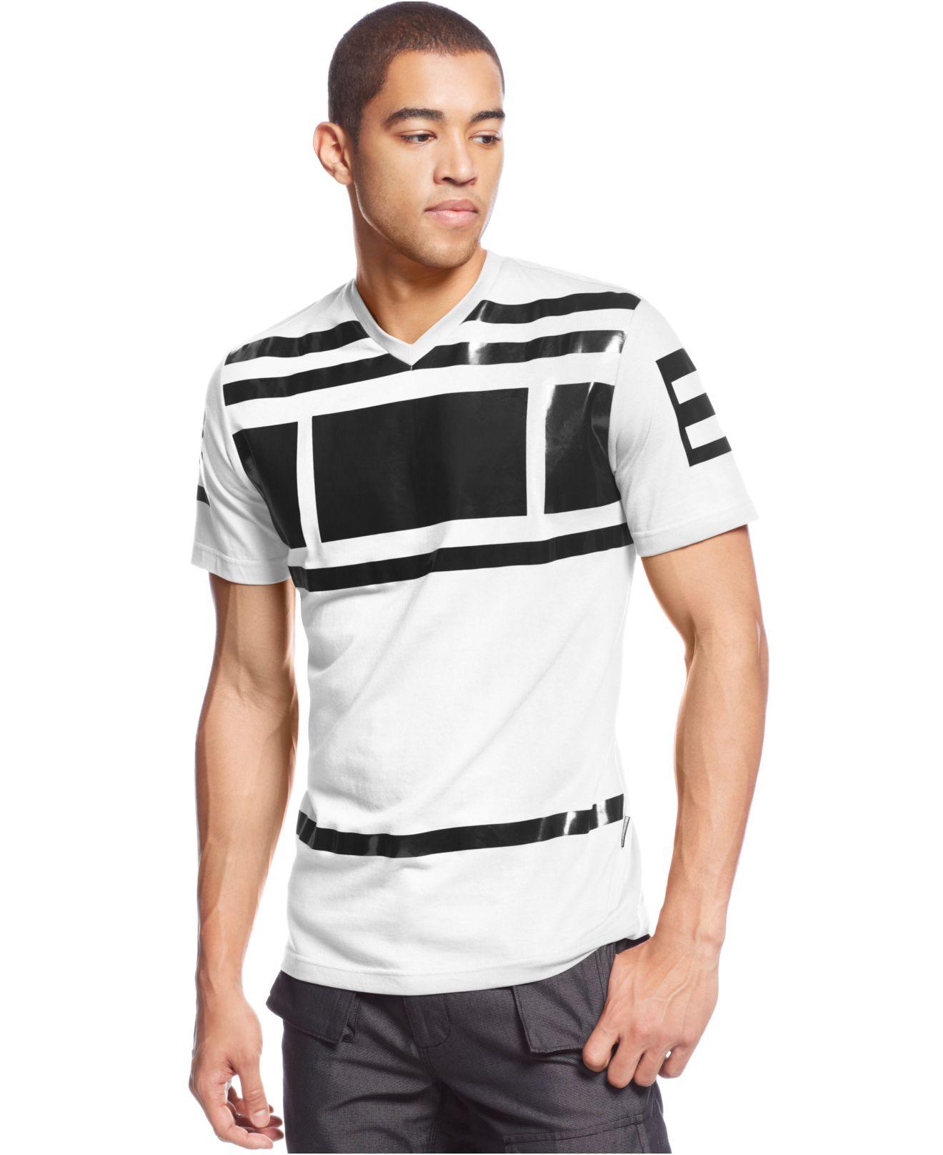 Sean john block printed v neck t shirt in white for men for Sean john t shirts for mens