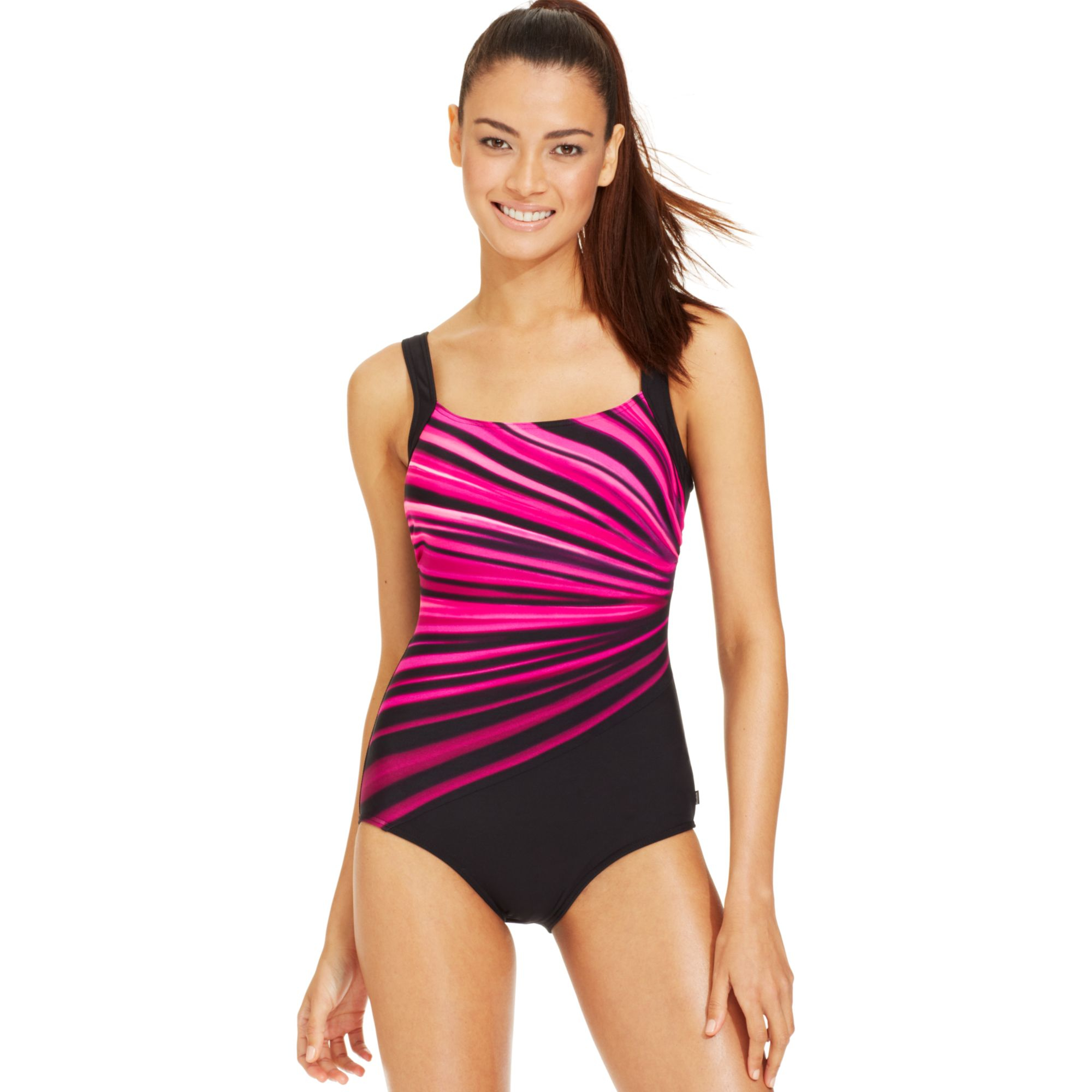 Reebok Graphic Stripe One Piece Swimsuit In Pink Lyst