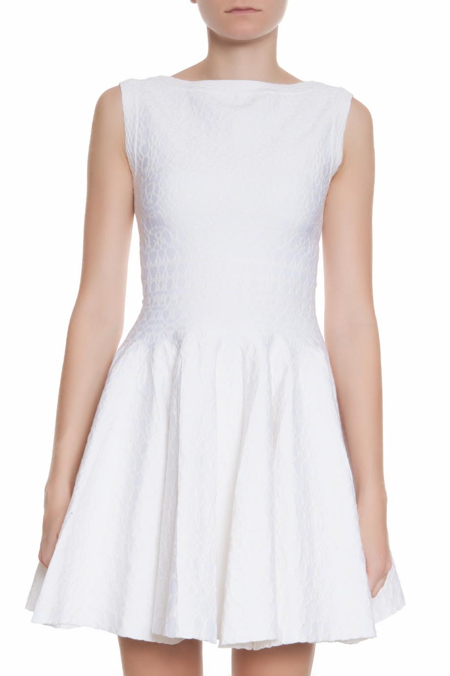 Alaïa Sleeveless Cosmos Dress in White