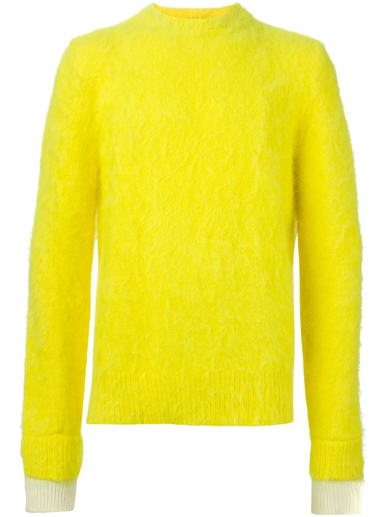Andrea pompilio Round Neck Sweater in Yellow for Men | Lyst