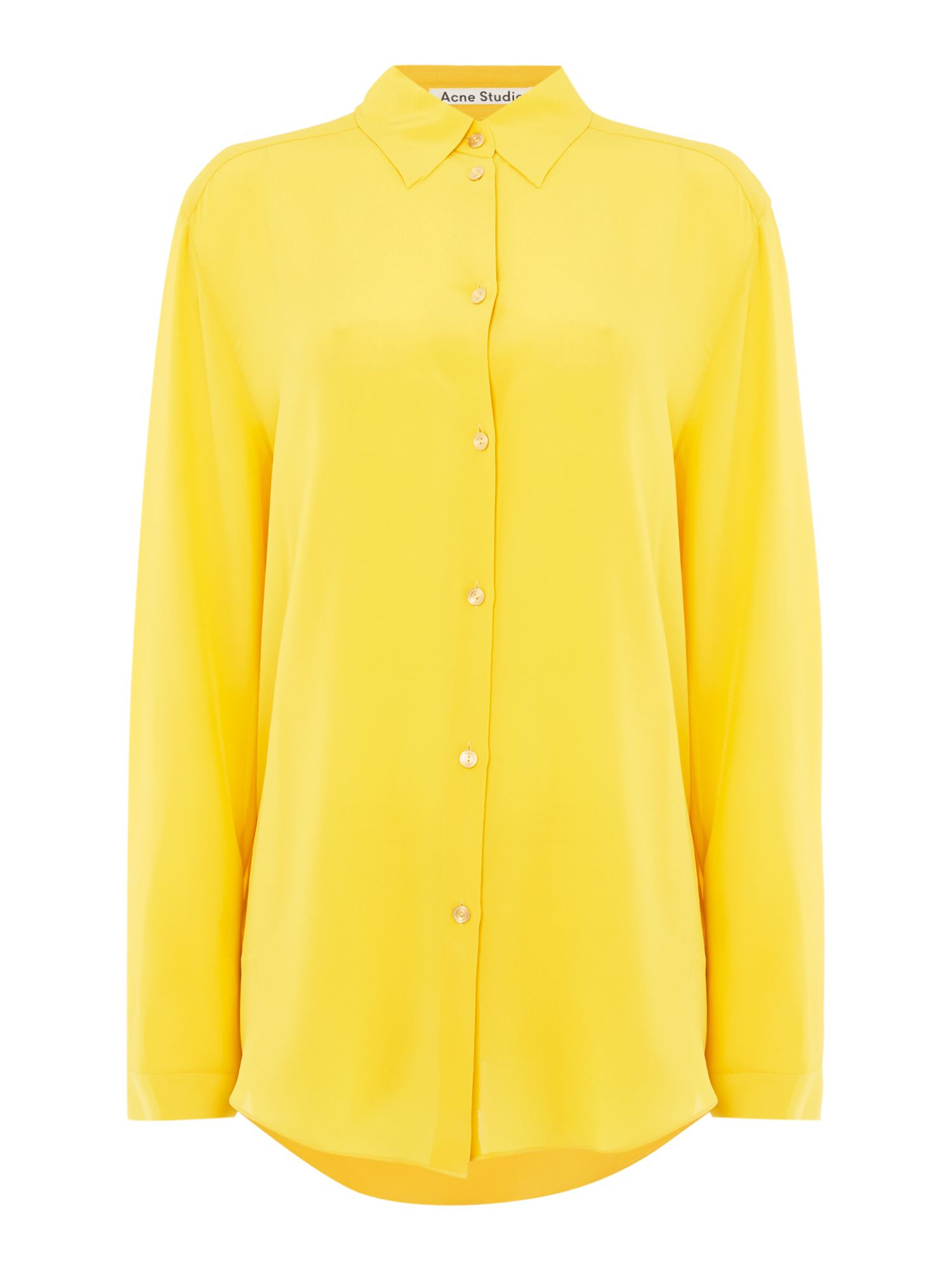 Acne Long Sleeve Sheer Button Up Shirt In Yellow Pastel