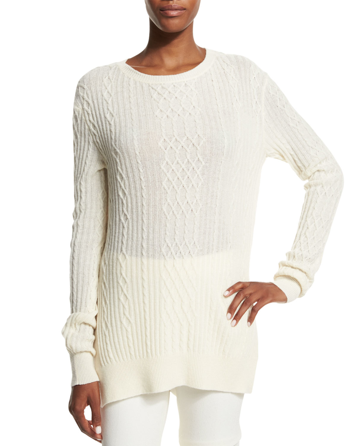 Ralph lauren collection Open-weave Cashmere Tunic Sweater in White ...