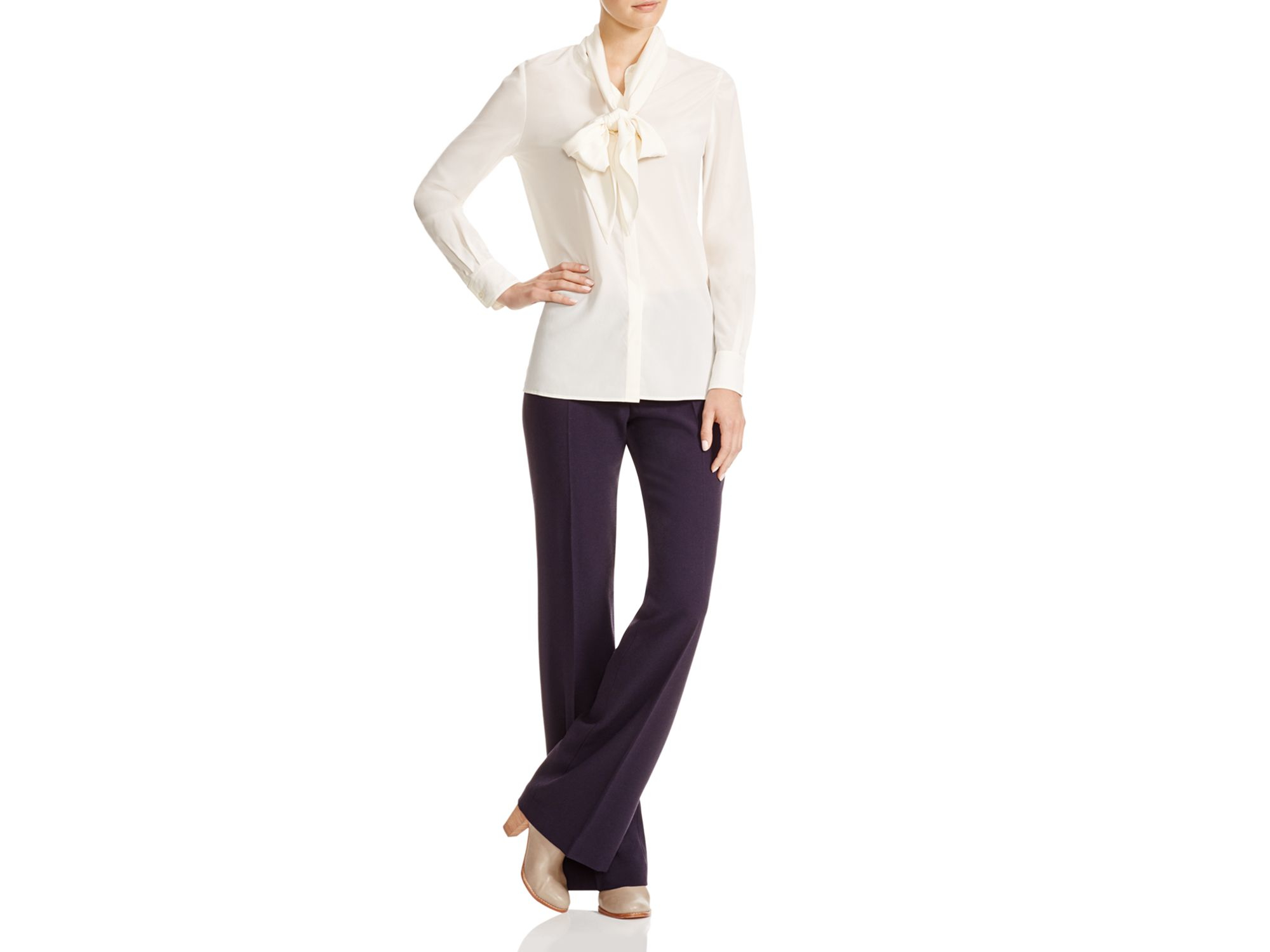 2dfd626195df5 Lyst - Tory Burch Stretch Silk Tie Neck Blouse in White