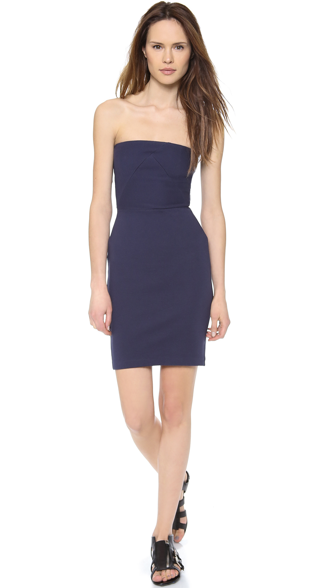 Costume national Strapless Fitted Dress Navy in Blue | Lyst