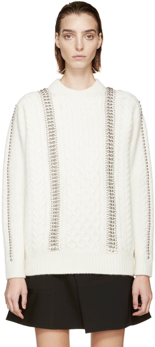 Alexander wang Cream Oversized Embellished Cable Knit Sweater in ...