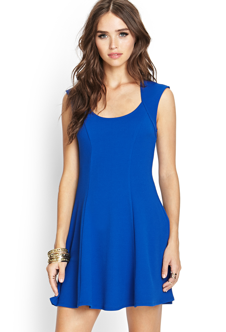 Forever 21 Fit Amp Flare Cutout Dress In Blue Lyst