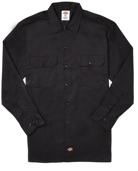 Dickies long sleeve work shirt in black for men lyst for Black long sleeve work shirt