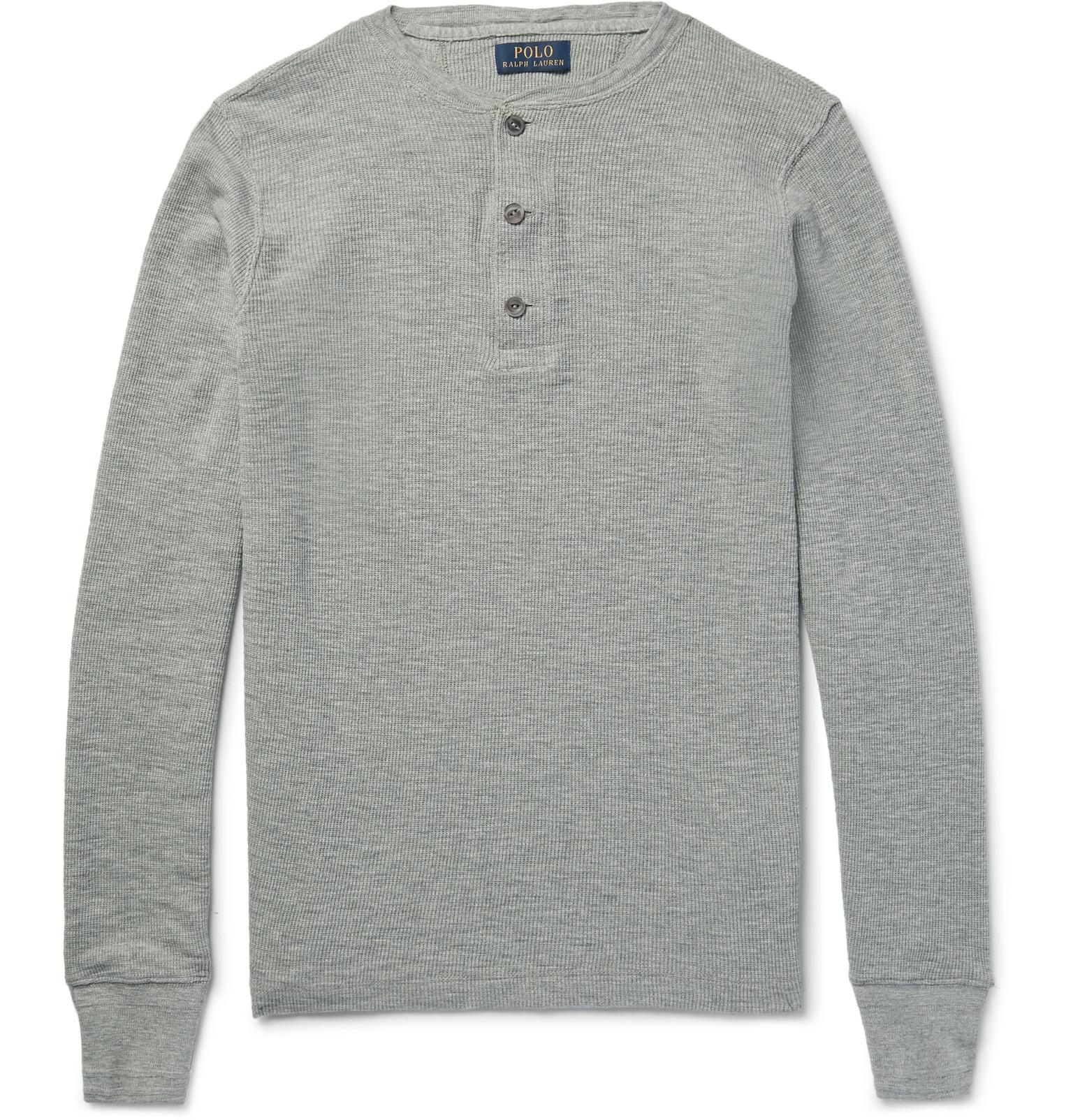 polo ralph lauren waffle knit cotton henley t shirt in