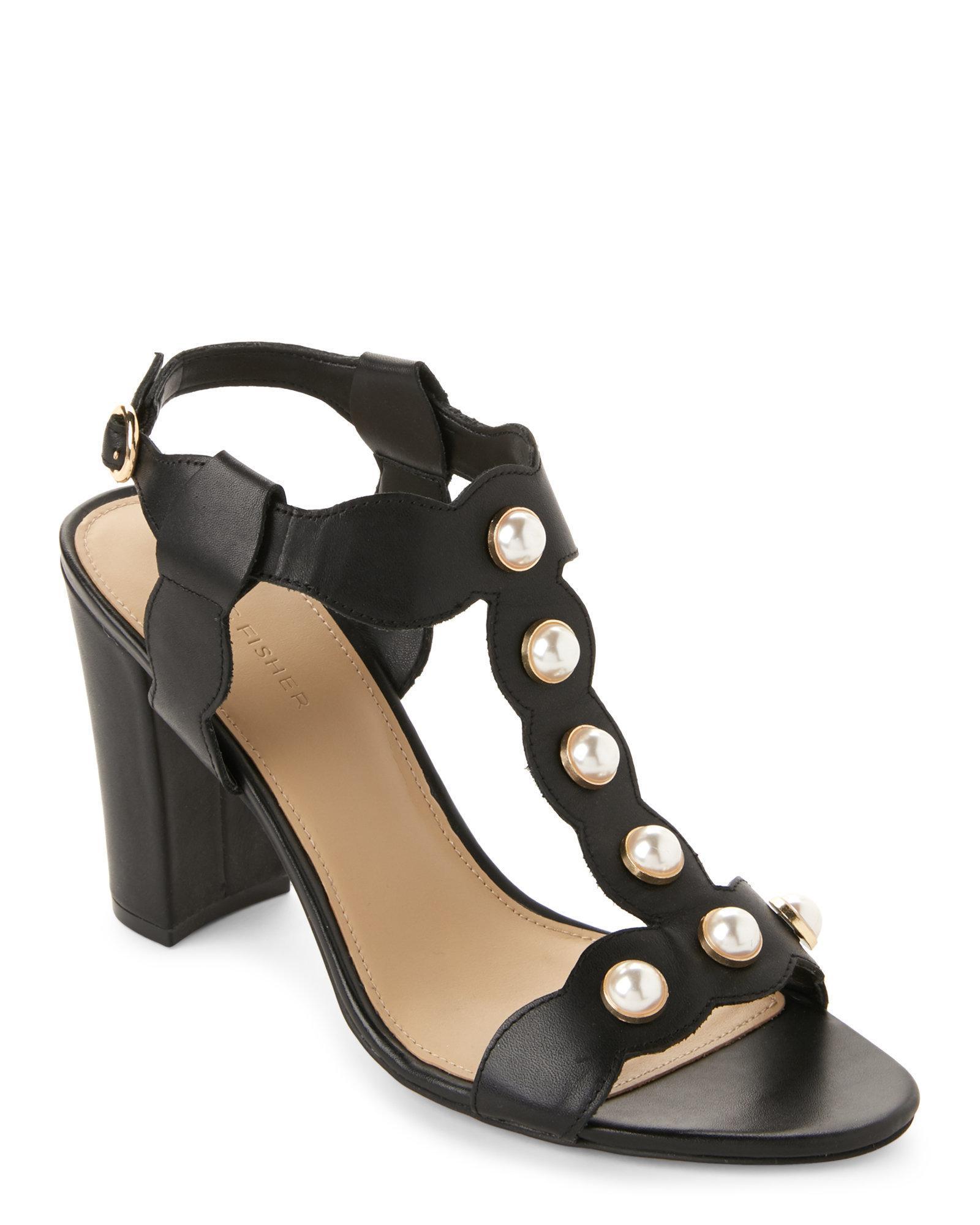 a499a802e04 Lyst - Marc Fisher Black Kaylee Embellished Block Heel Sandals in Black