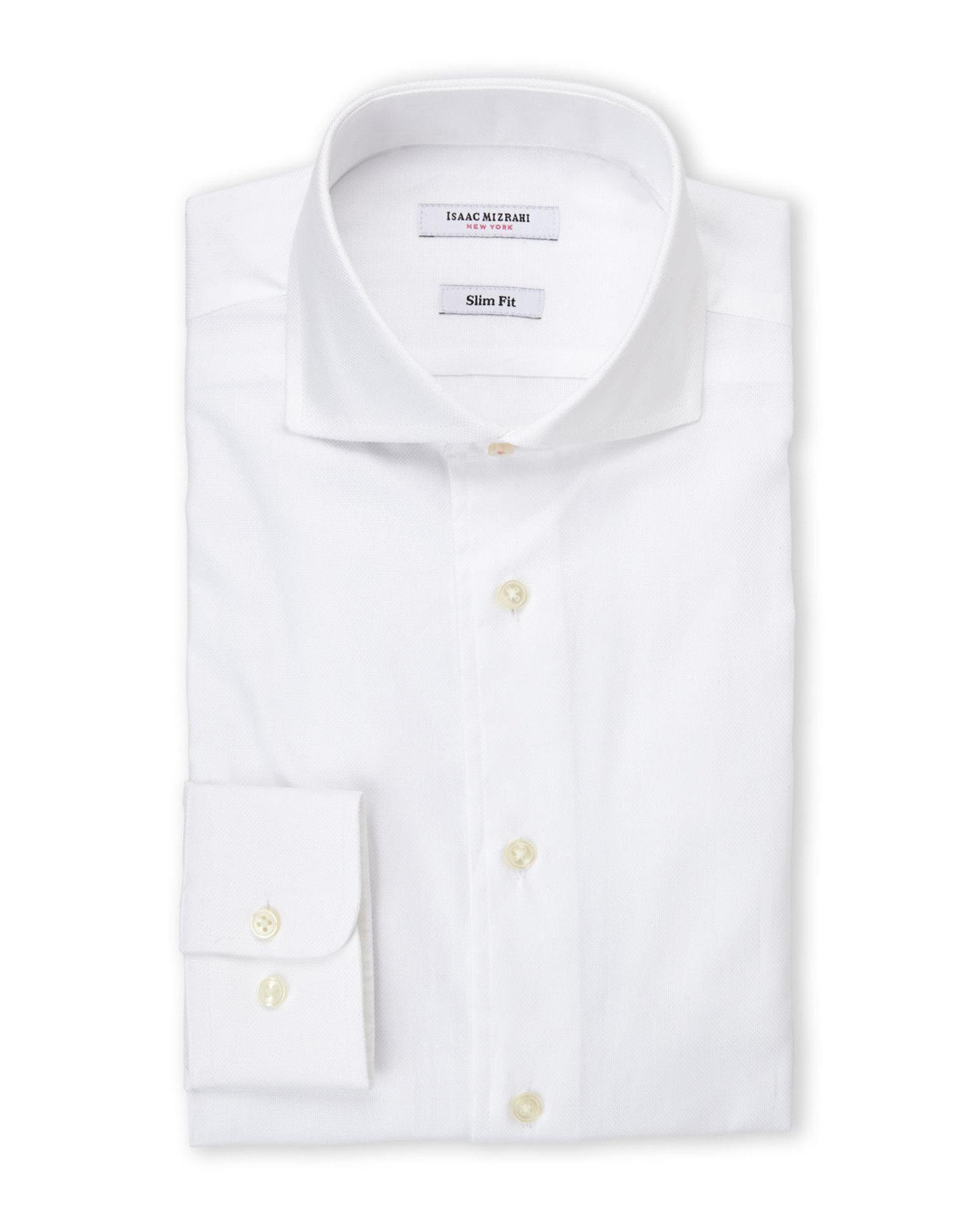 Isaac mizrahi new york slim fit white oxford dress shirt for Century 21 dress shirts