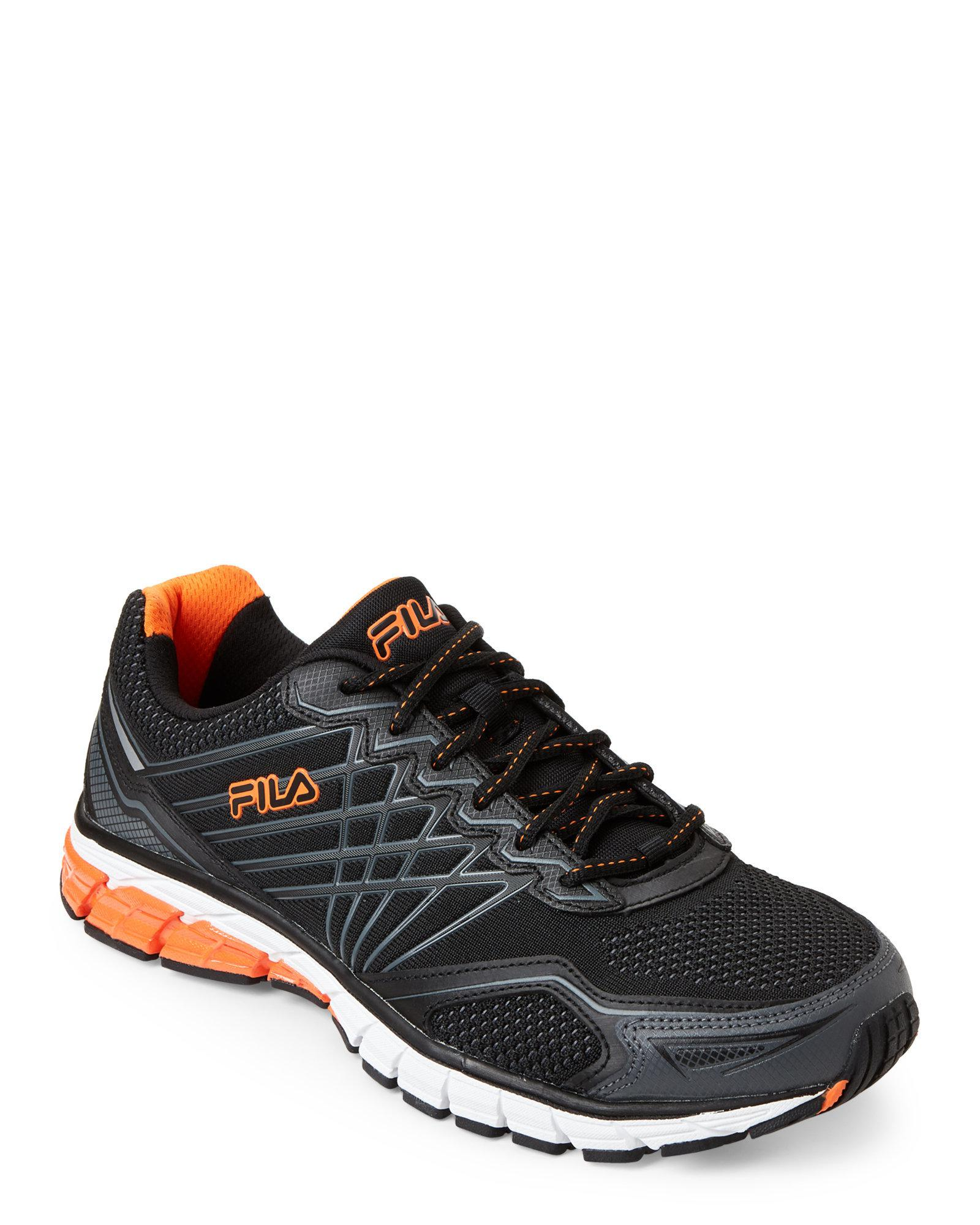 b6059f6f0db92 Fila Black & Orange Steel Strike 5 Energized Running Sneakers for men