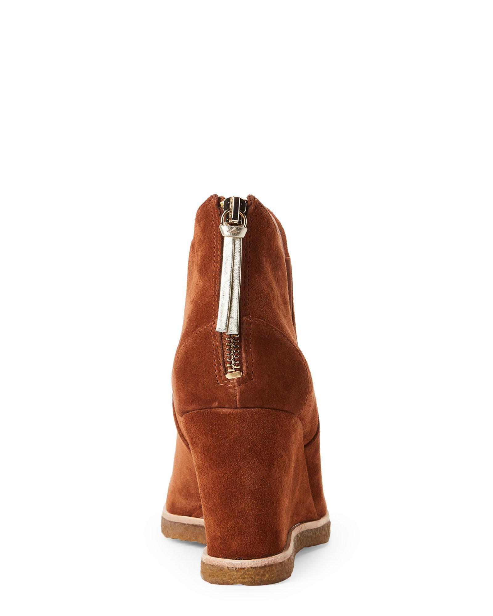 c8f56a85fdf Lyst - Bettye By Bettye Muller Whiskey Zap Wedge Booties in Brown
