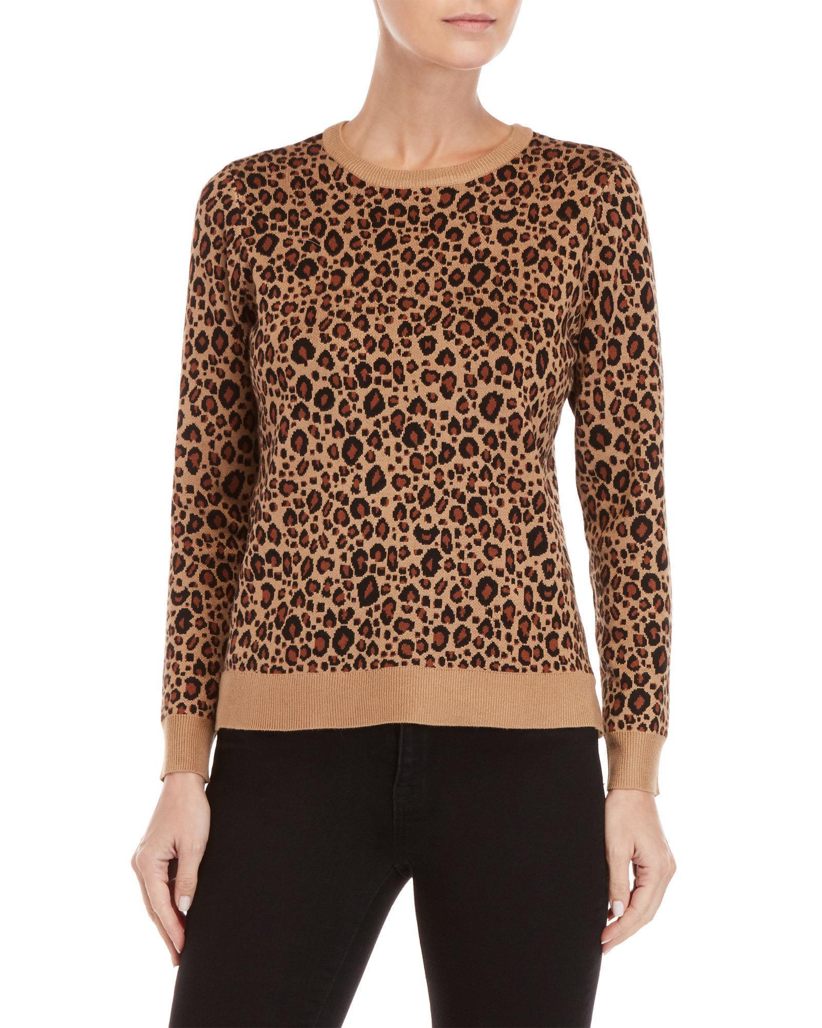3ec716963a12 Lyst - Philosophy Petite Leopard Sweater in Brown