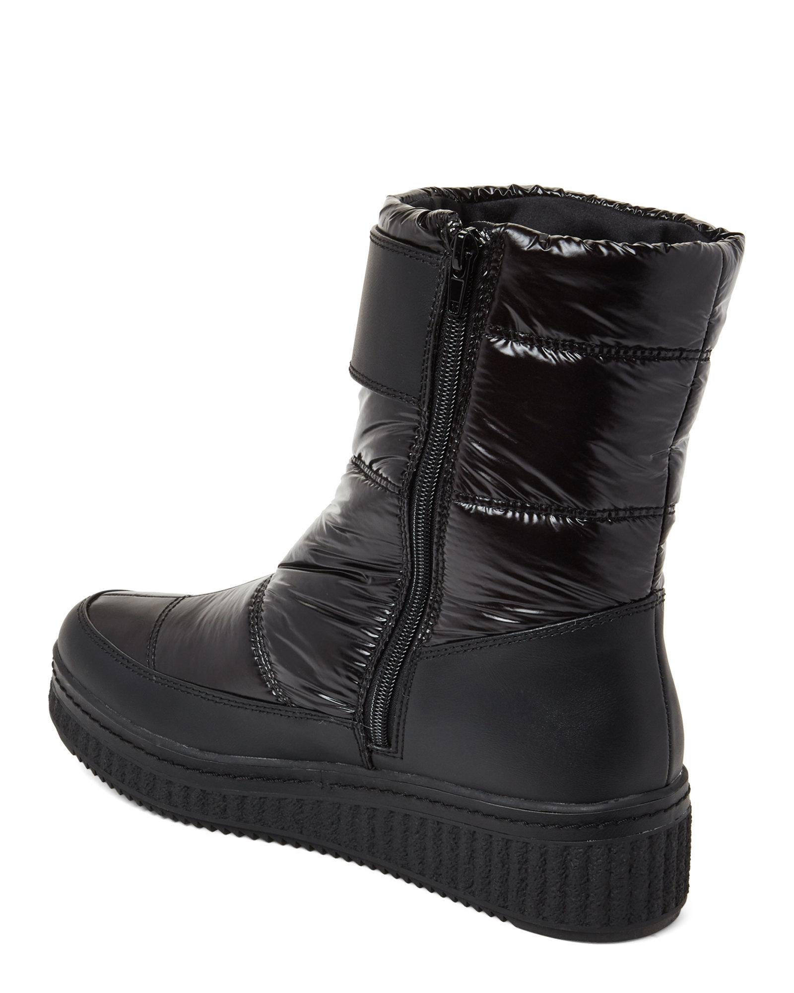 Black Leonie Nylon Wedge Boots
