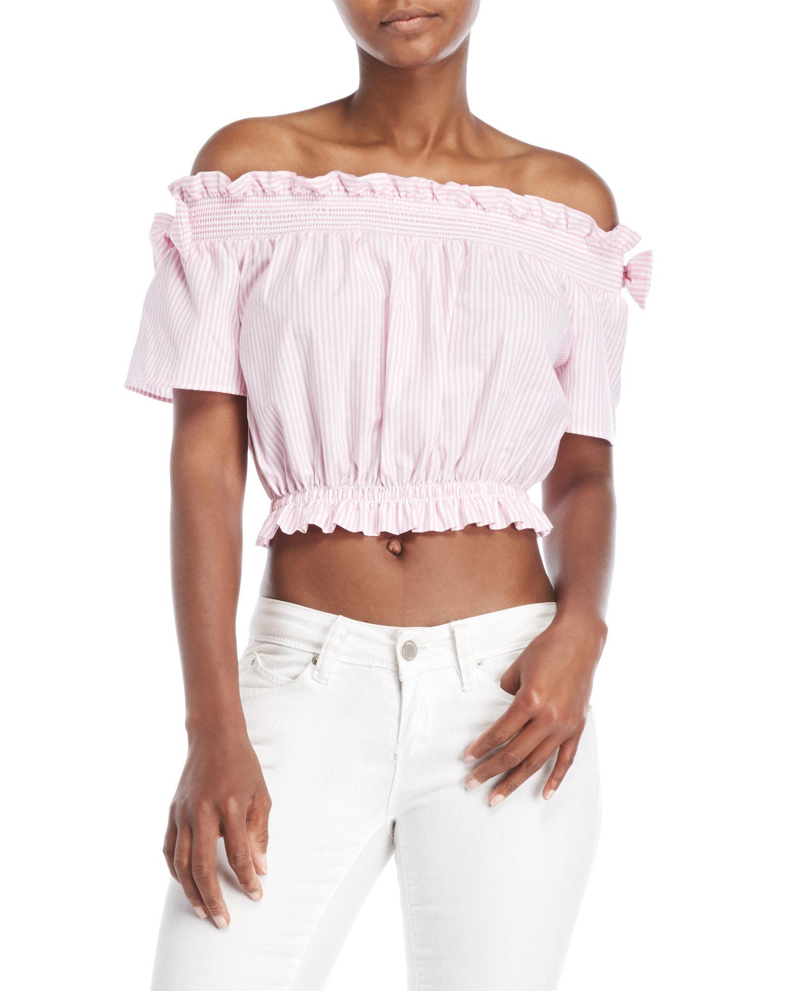 940cdf51d64ded Lyst - Love Tree Striped Off-the-shoulder Crop Top in Pink