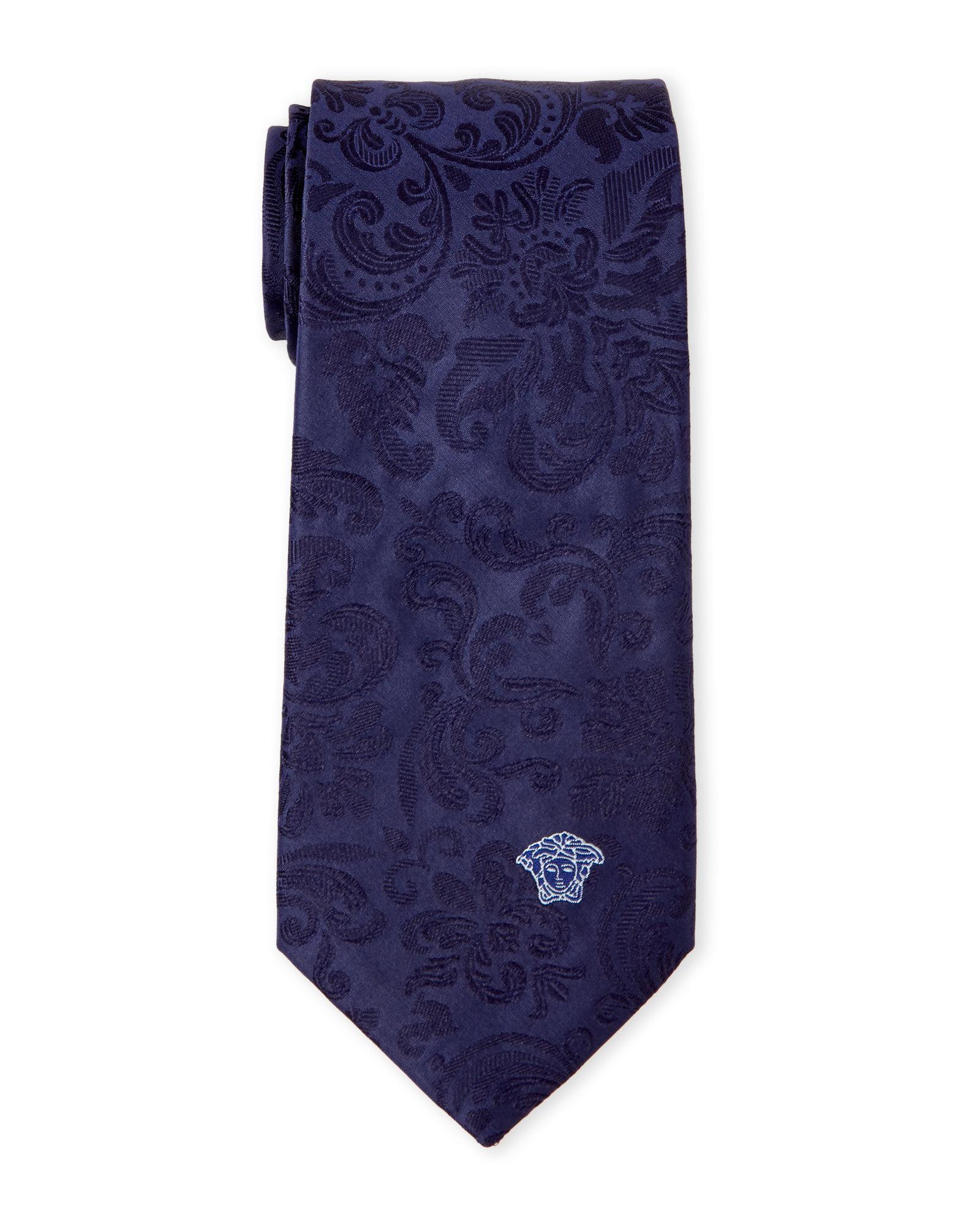 versace navy baroque silk tie in blue for men lyst