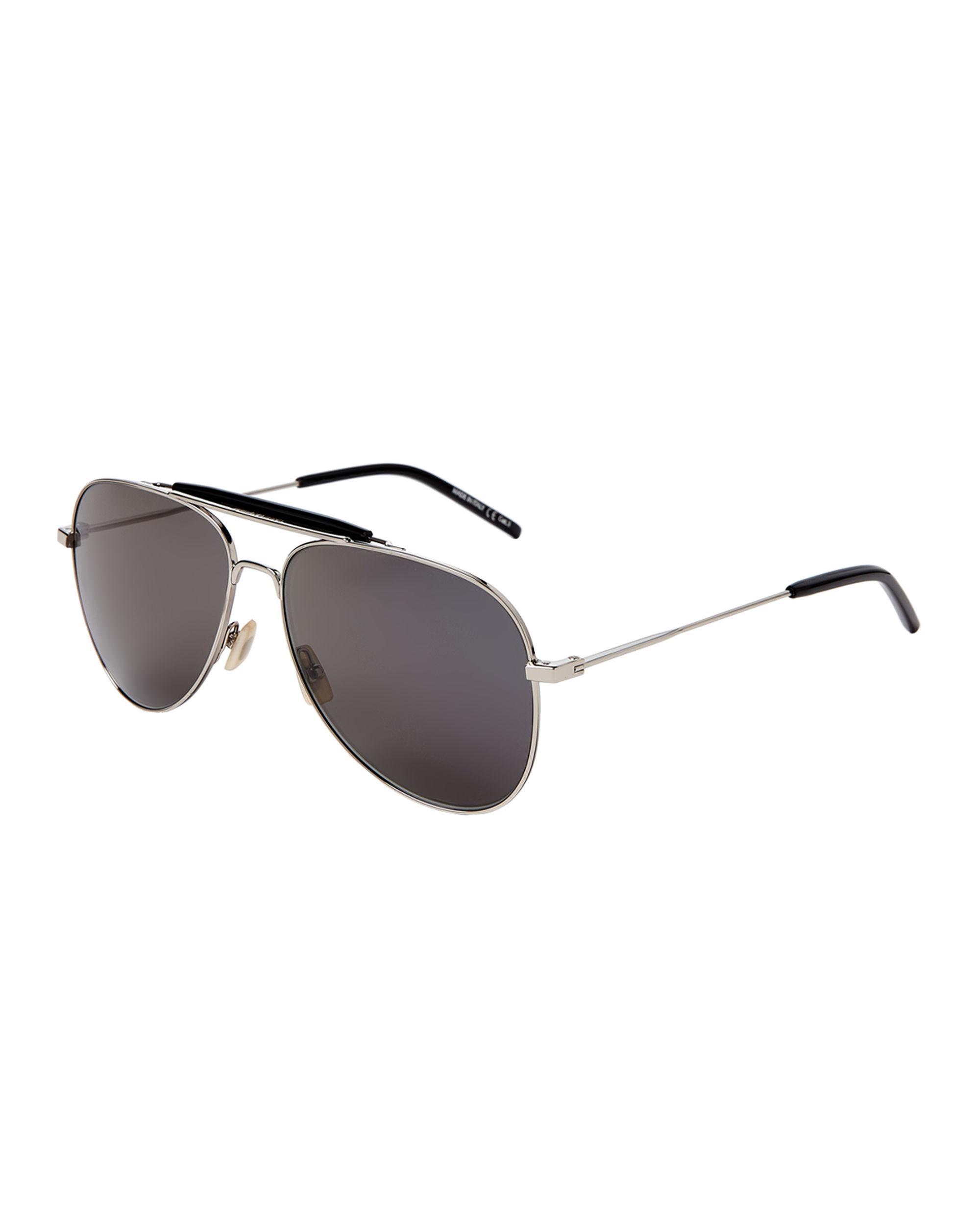 241116ae3c Men's Metallic Sl 85 Black & Silver-tone Aviator Sunglasses