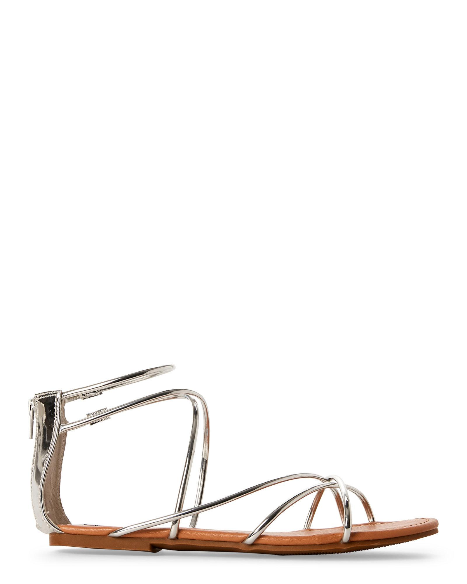 09a9fcca6fd Steve Madden Metallic Silver Sapphire Strappy Flat Sandals