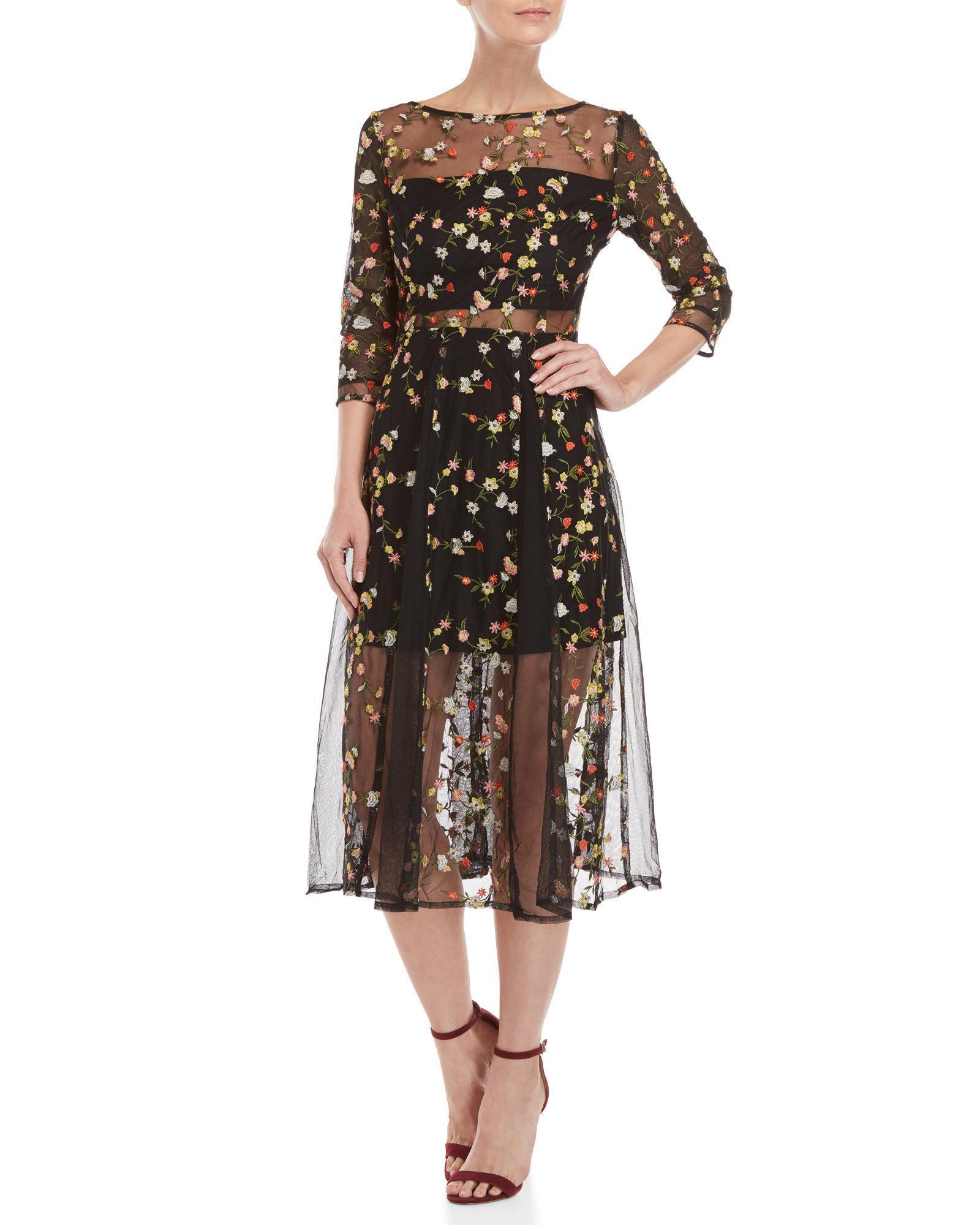 ffee7c28c7d9a Lucy Paris Black Floral Embroidered Mesh Midi Dress
