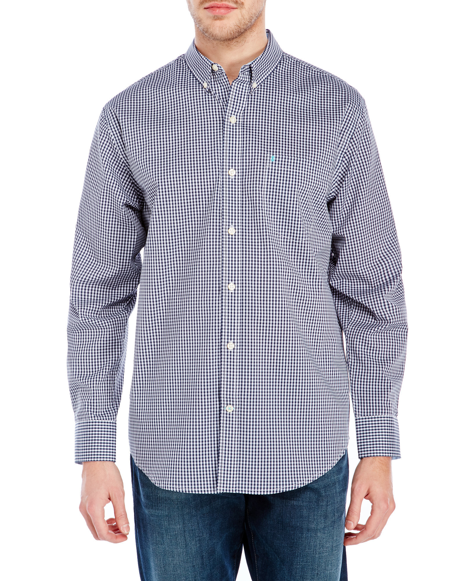 Izod gingham non iron button down shirt in blue for men lyst for Izod button down shirts