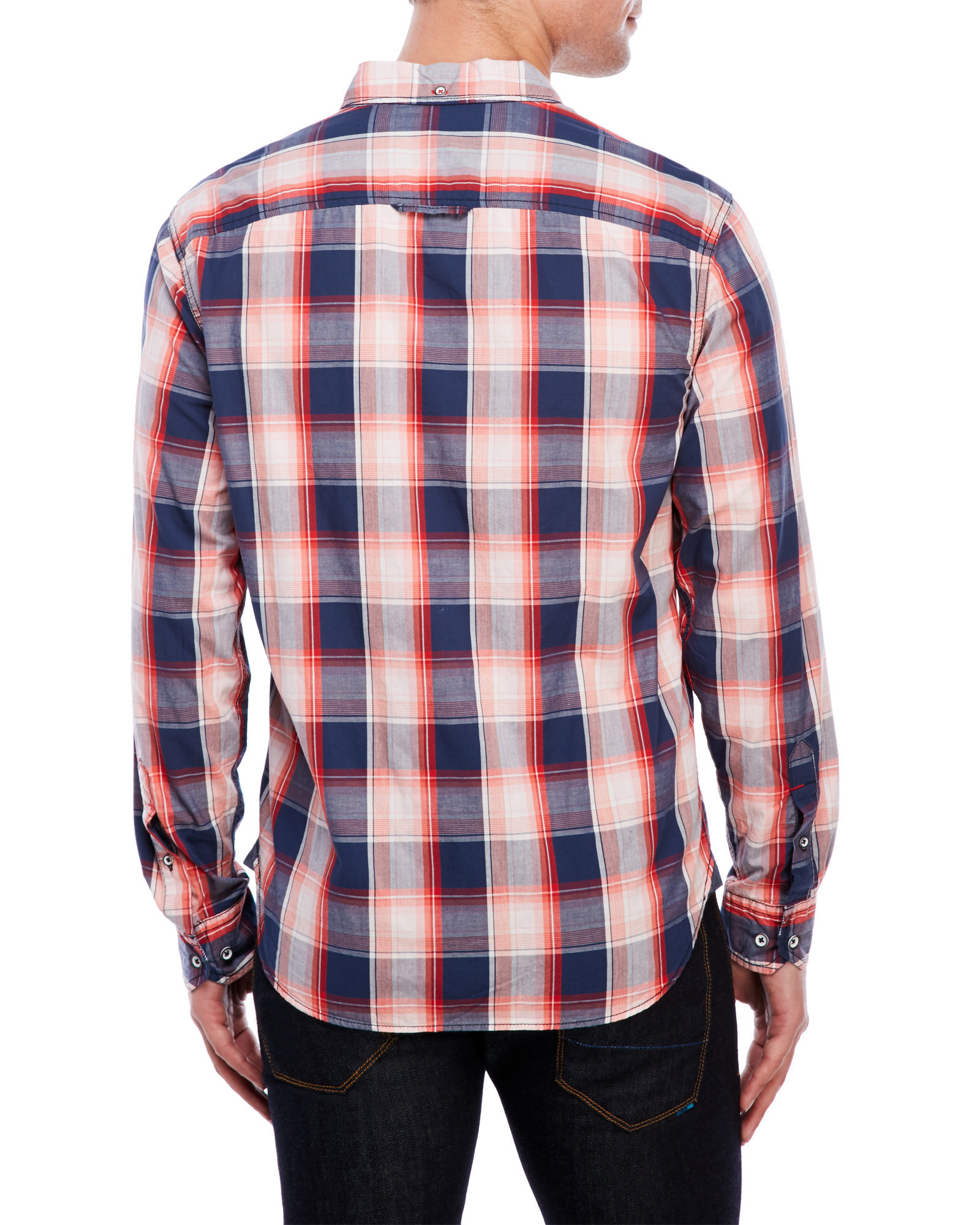 Thread cloth red plaid shirt in white for men lyst for Century 21 dress shirts