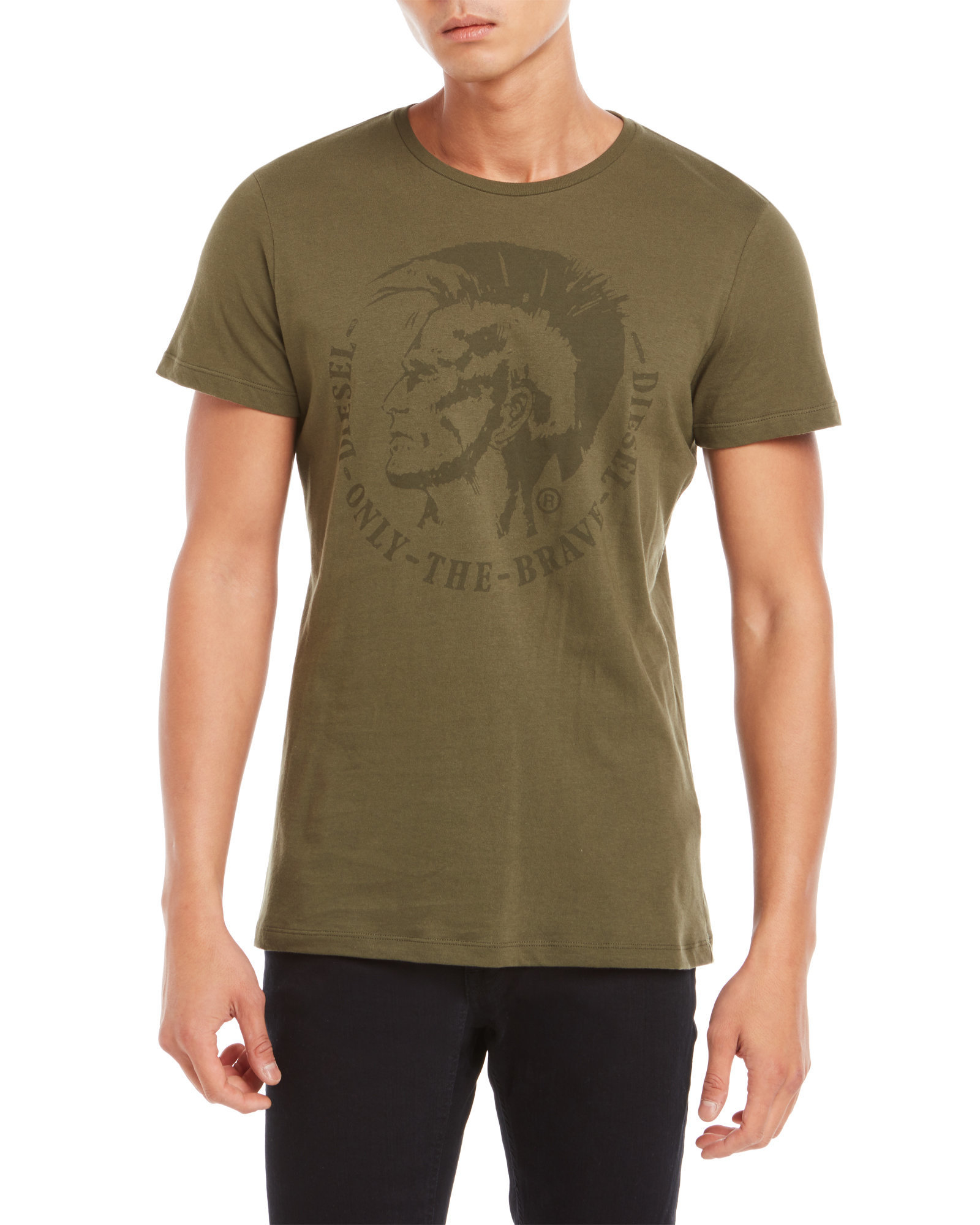 Diesel only the brave tee in green for men lyst for Century 21 dress shirts