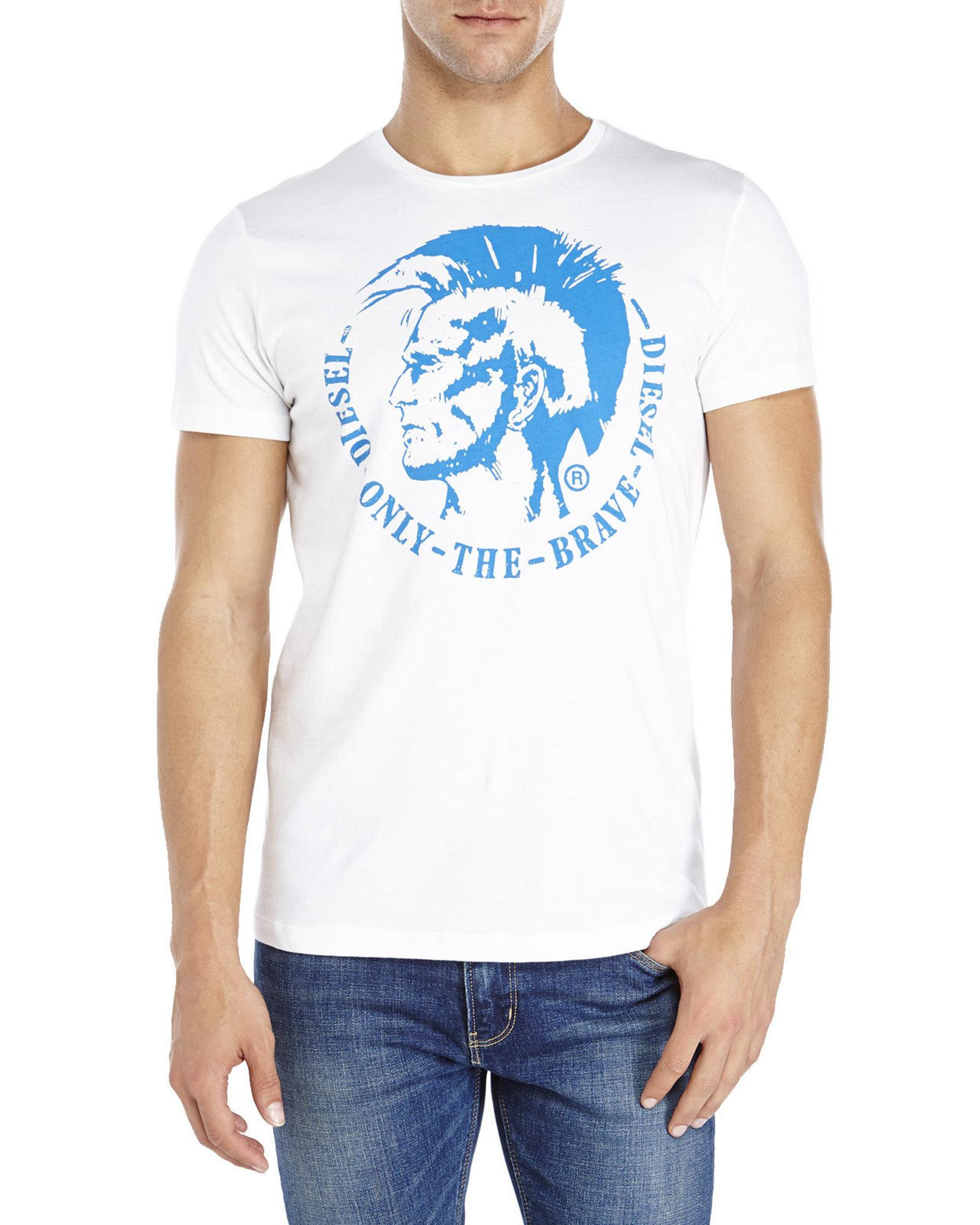 Diesel only the brave tee in white for men lyst for Century 21 dress shirts