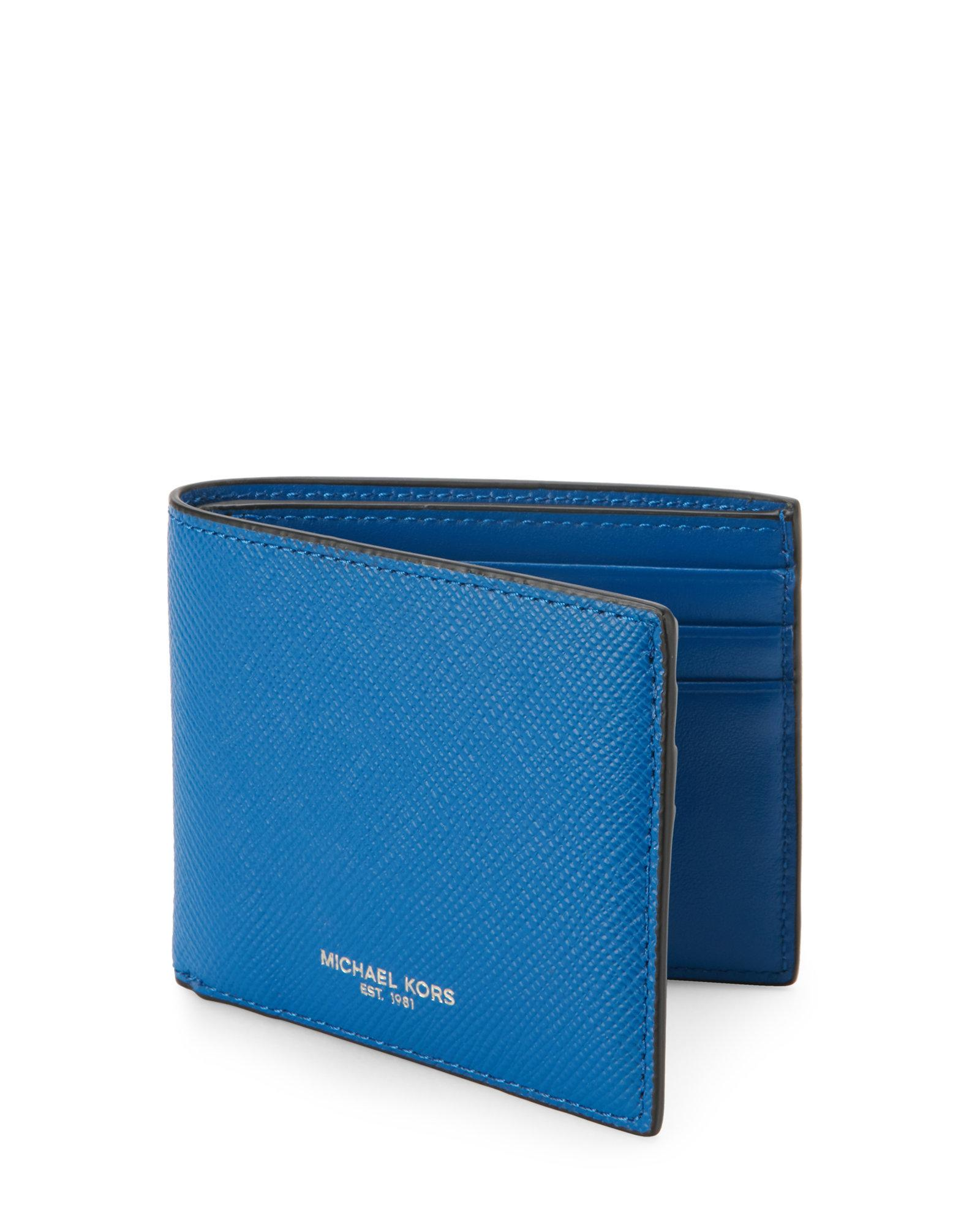 7c8a4ead0759 ... coupon for lyst michael kors electric blue harrison leather billfold  wallet 86559 00dd3