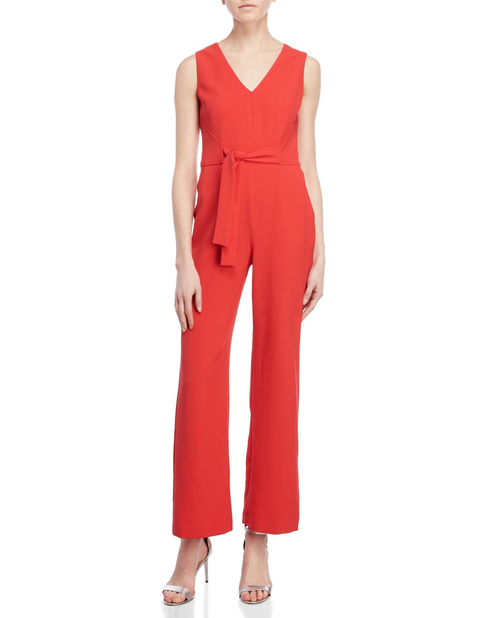 c6da0063d16 Lyst - Vince Camuto Petite Crepe Tie Waist Jumpsuit in Red