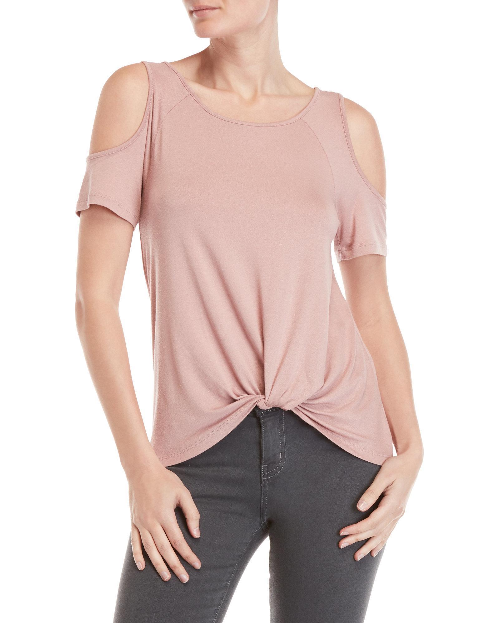 ff4275757c5 Pink Rose Pink Cold Shoulder Knot Front Tee