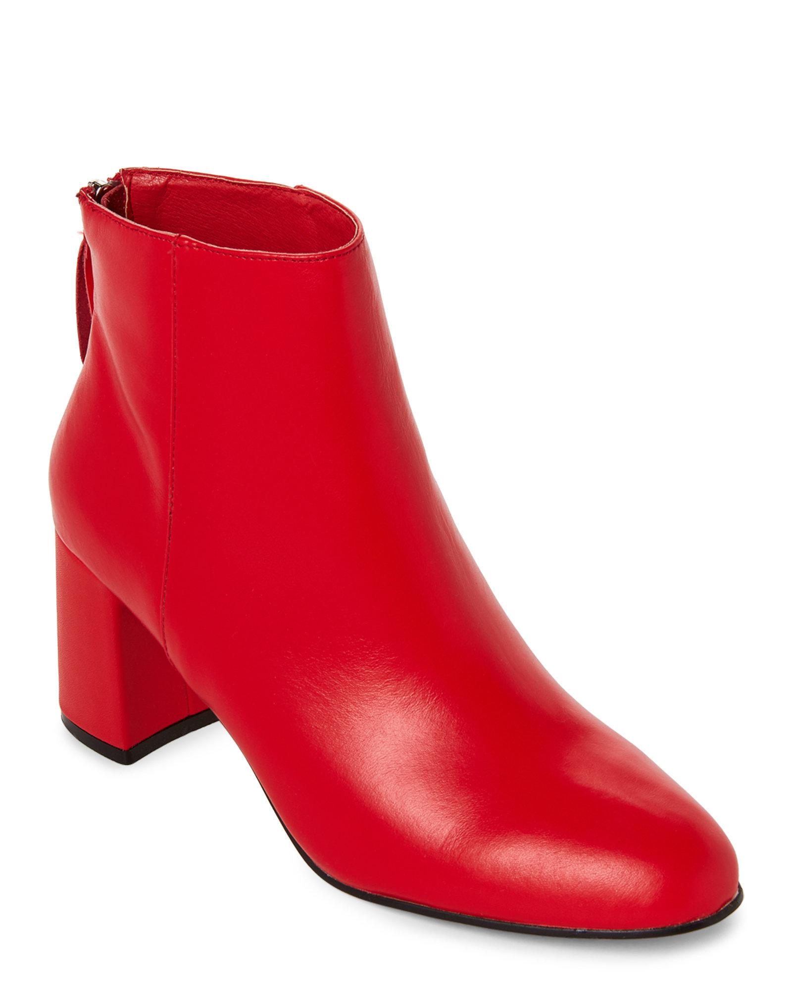 f4c03a98a0 Steve Madden Fire Red Parisa Block Heel Booties in Red - Lyst