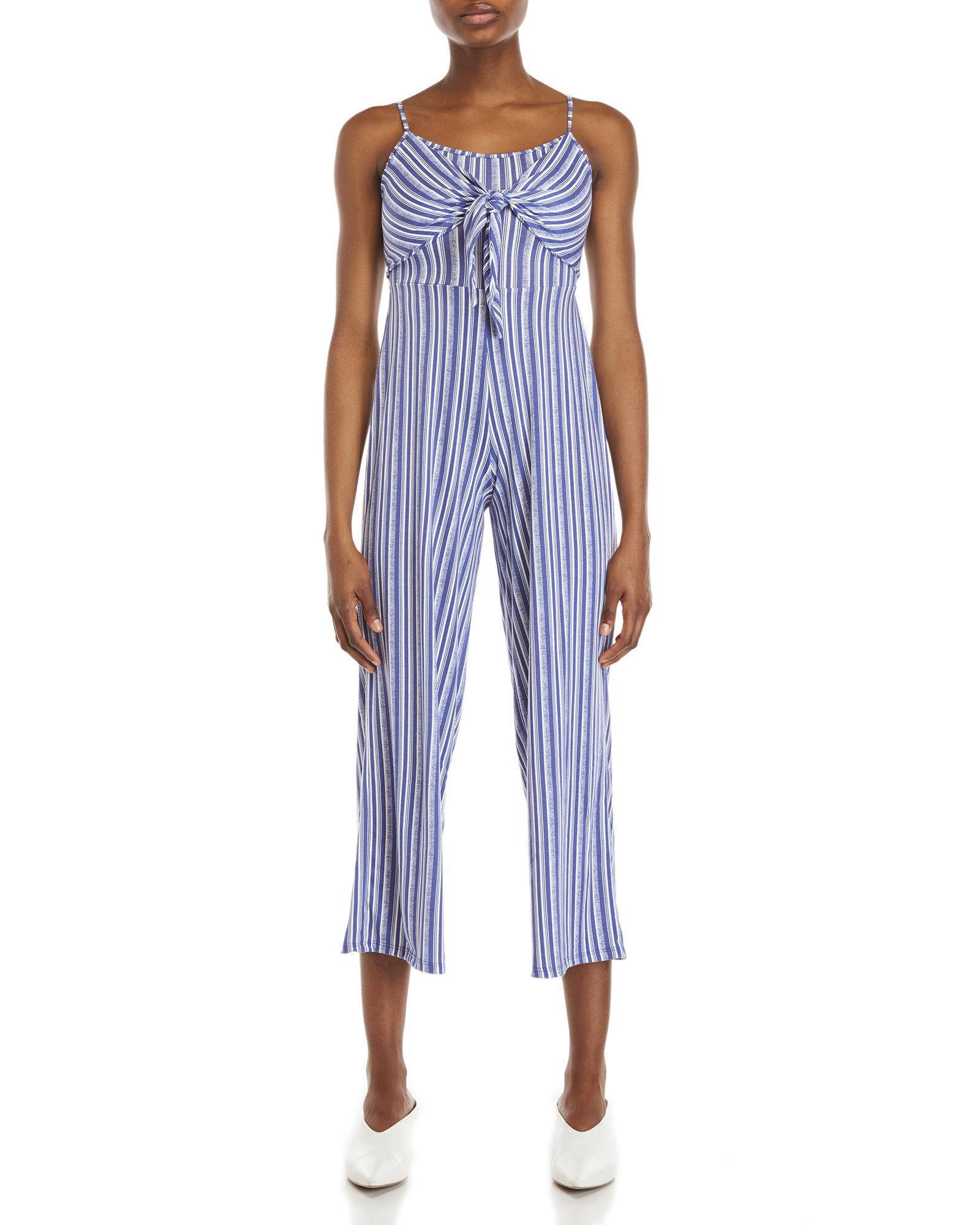 d619e1fc53e Lyst - Derek Heart Stripe Self-tie Jumpsuit in Blue