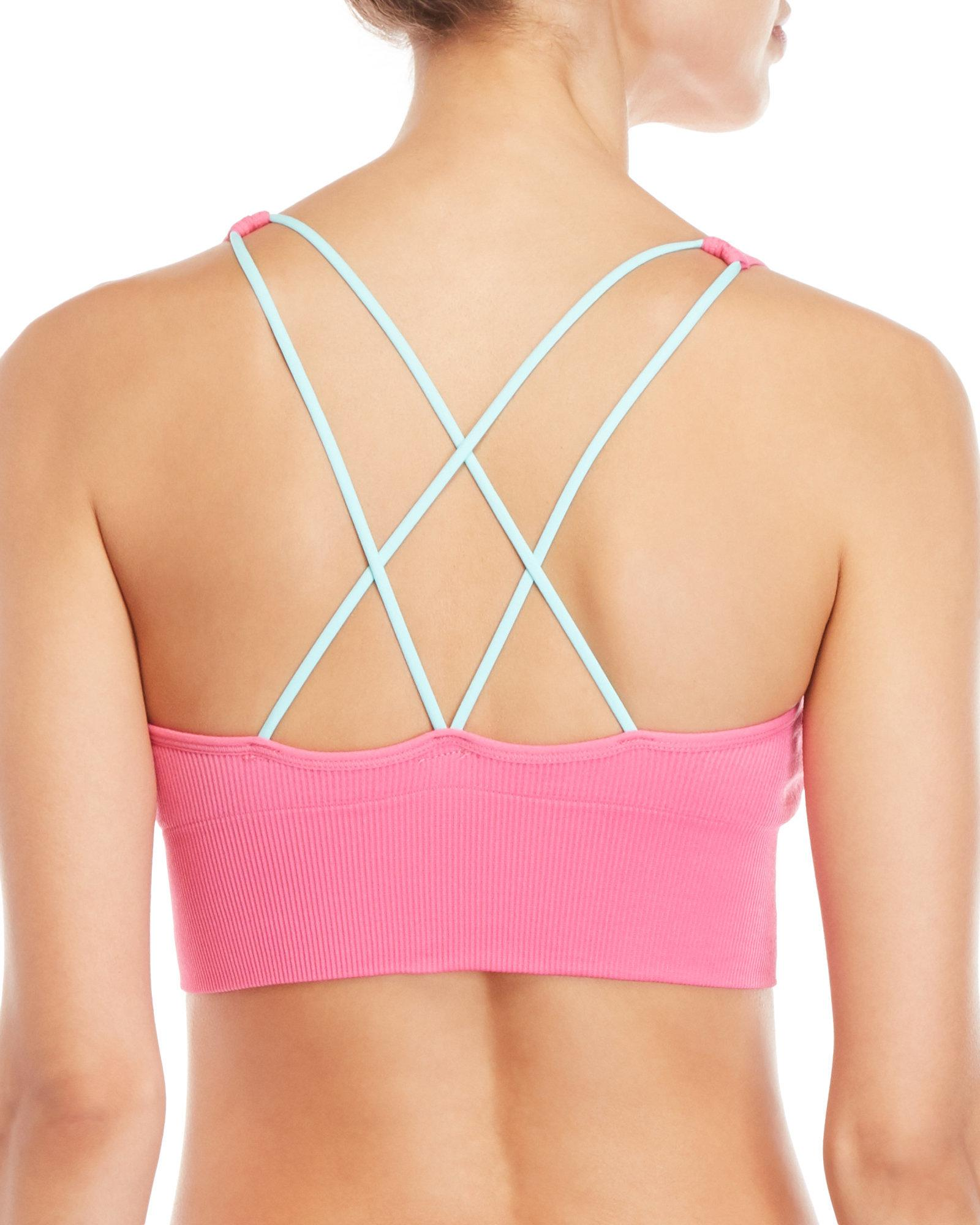 81139723 PUMA Pink Ribbed Strappy Sports Bra