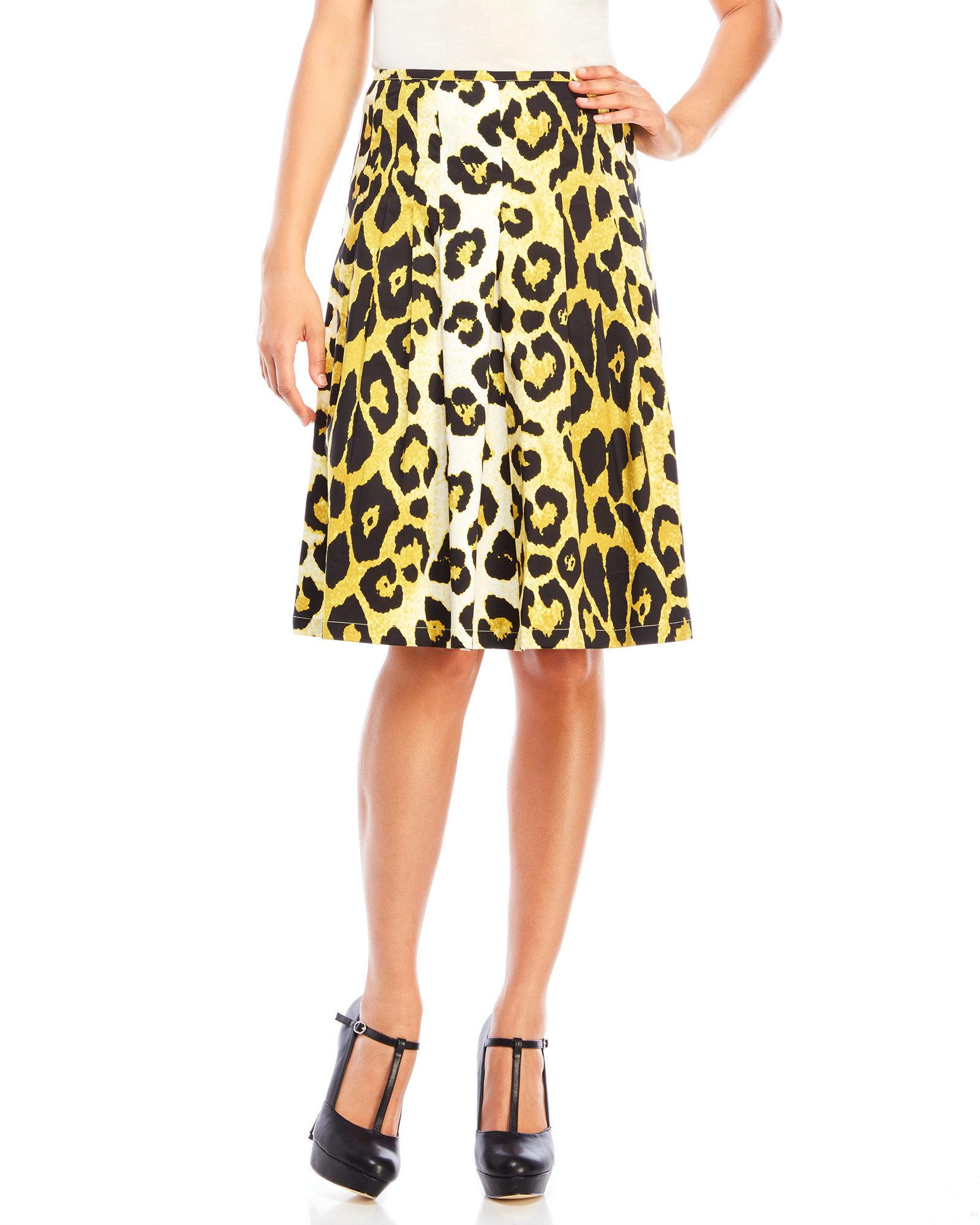 sung printed pleated midi skirt in yellow lyst