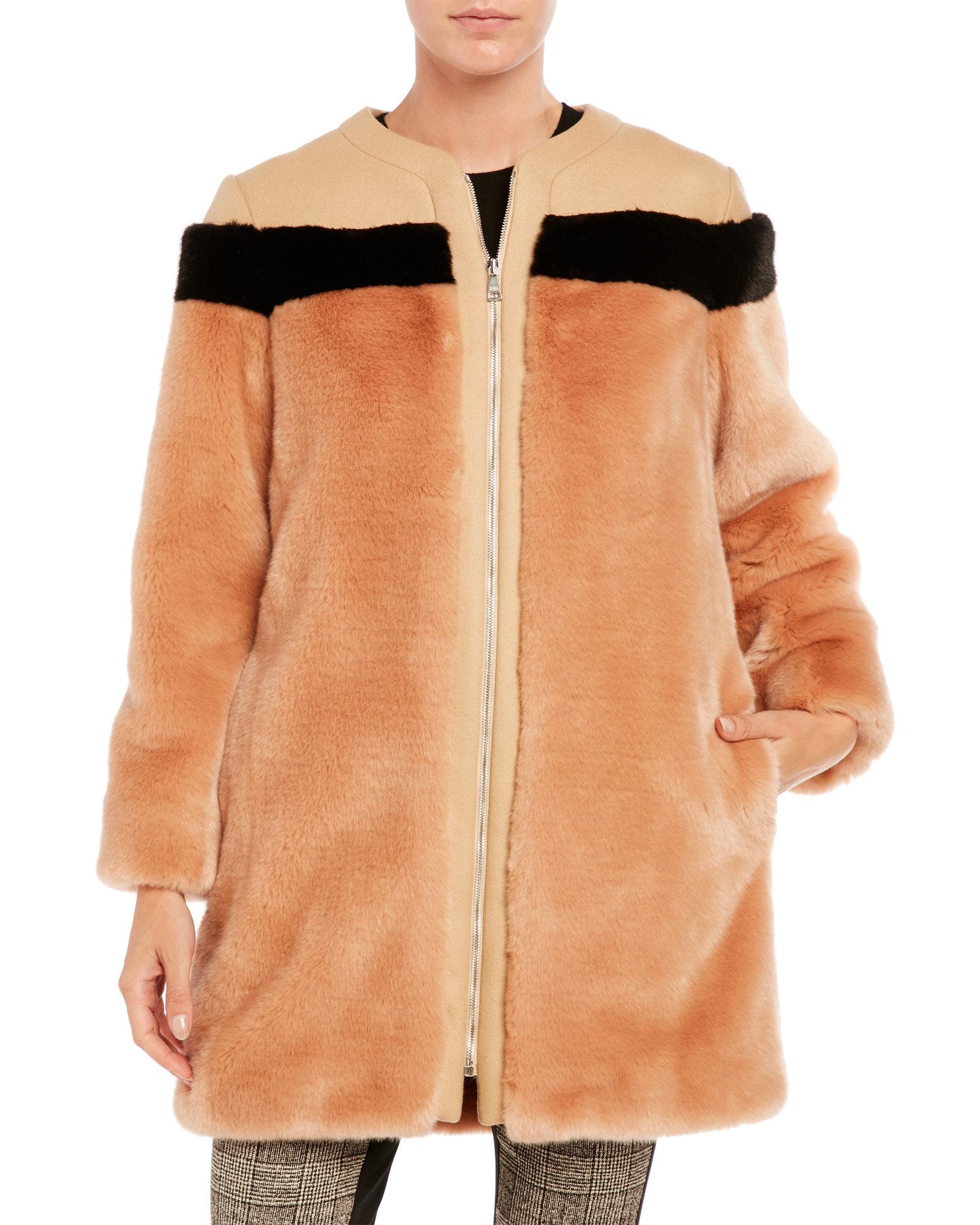Lyst - Sonia by Sonia Rykiel Faux Fur Coat in Black 50f1255968294