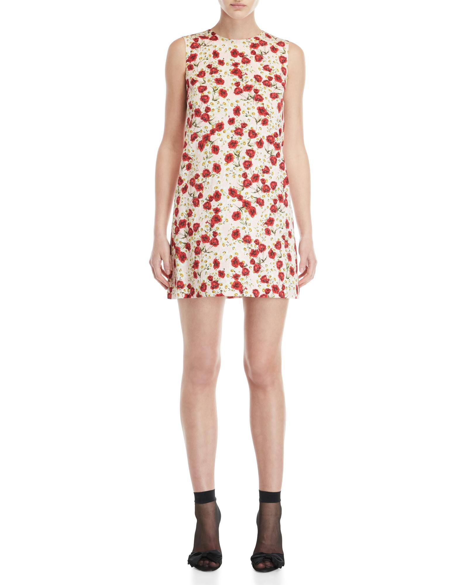 ab1e2273 Lyst - Dolce & Gabbana Floral Print Jacquard Mini Dress in Pink