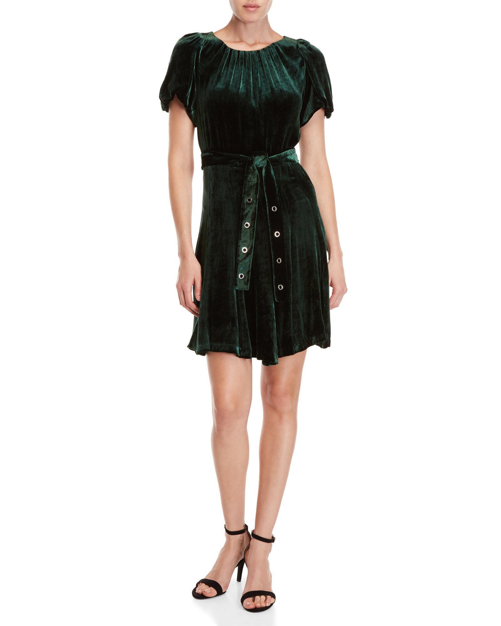 Green Velvet Stuarty Belted Dress