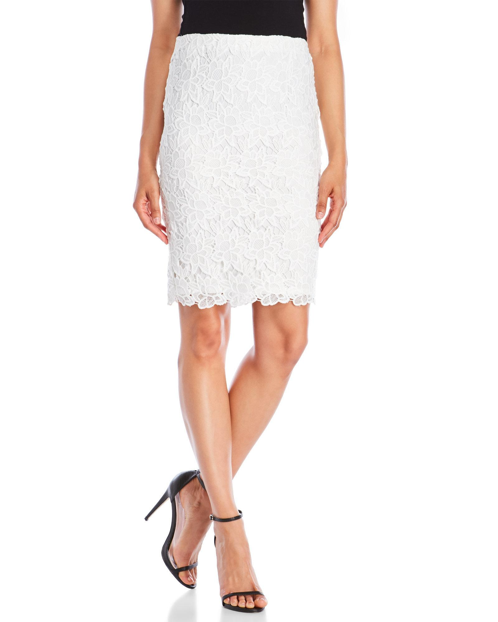 63f5469cdd Lyst - Catherine Malandrino Floral Lace Pencil Skirt in White