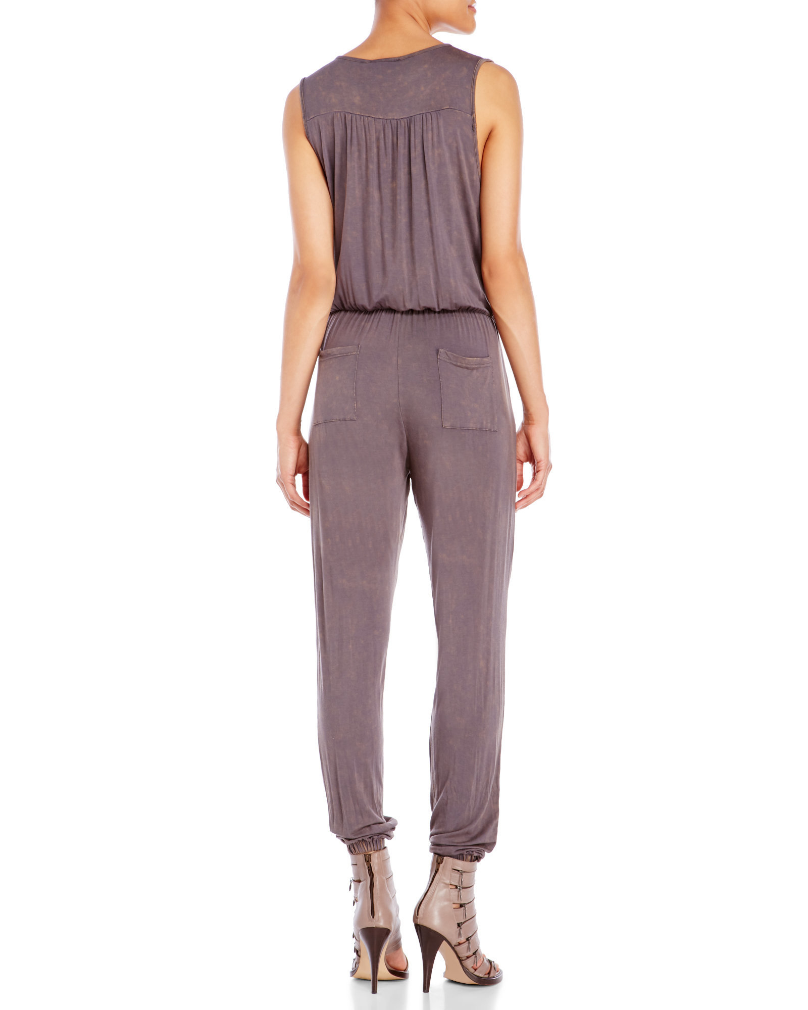 95136f09331b Lyst - Pol Sleeveless Jersey Jumpsuit in Purple