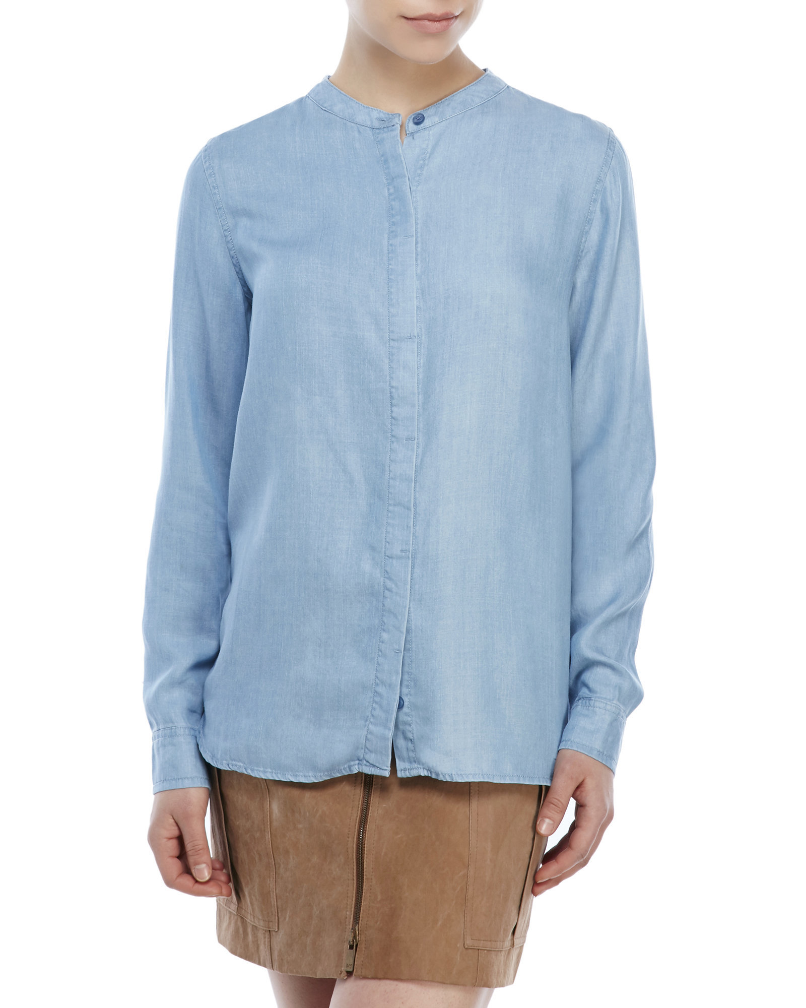 century 21 mandarin collar button up shirt in blue medium