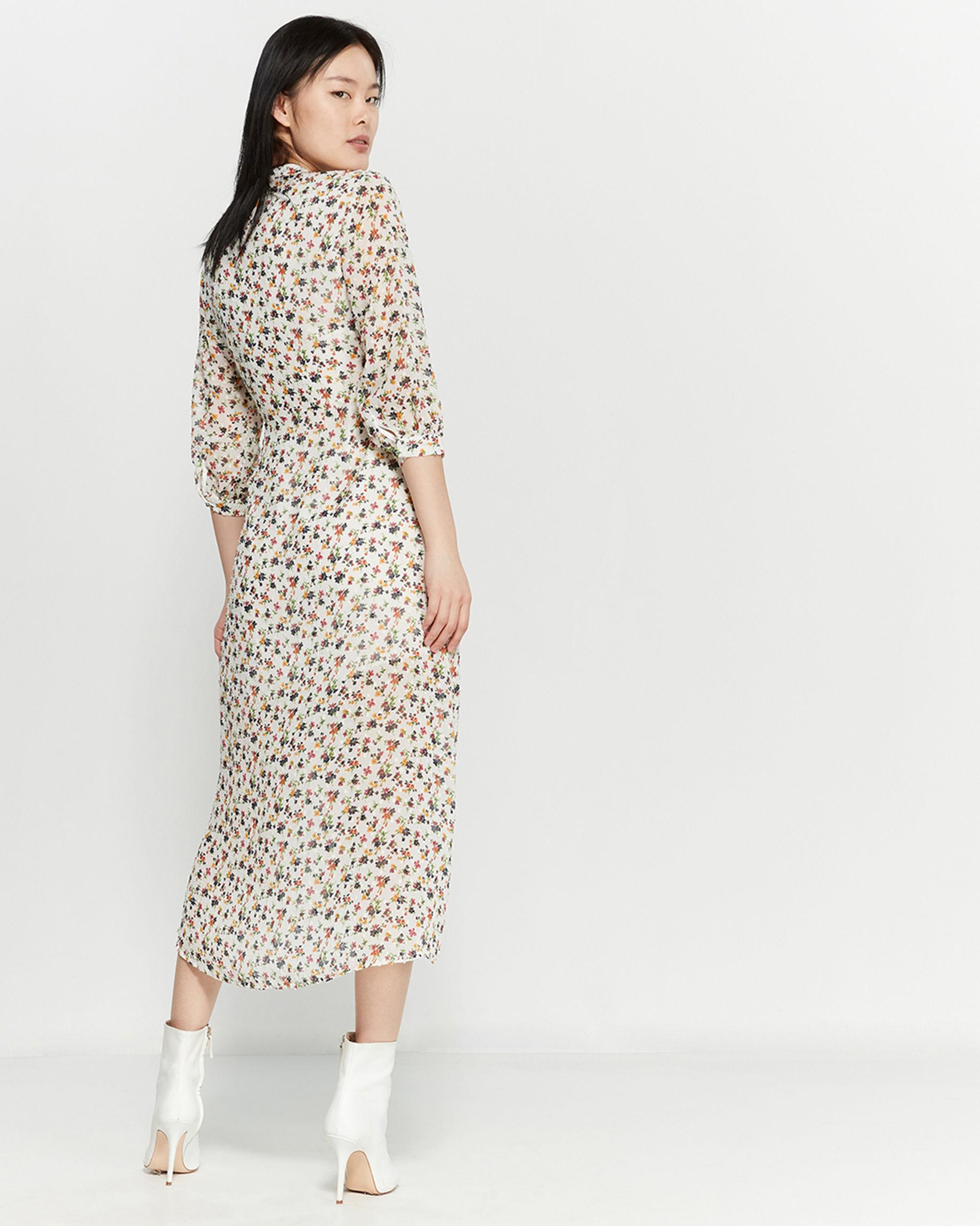 aae93e0704e2 Lyst - Lush Ivory Ditsy Floral Wrap Midi Dress in White