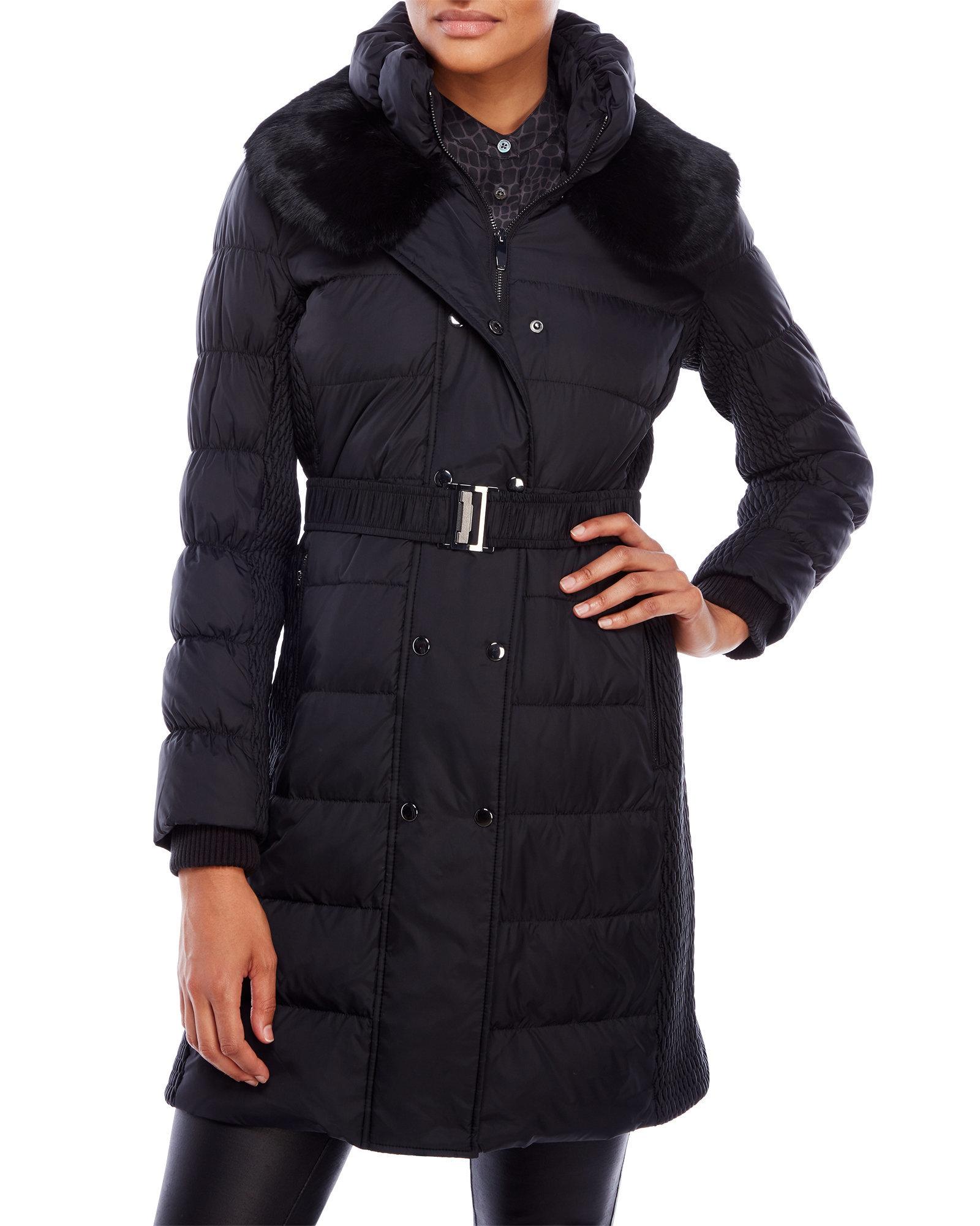 Via Spiga Fur Mixed Media Puffer Trench Coat In Black Lyst