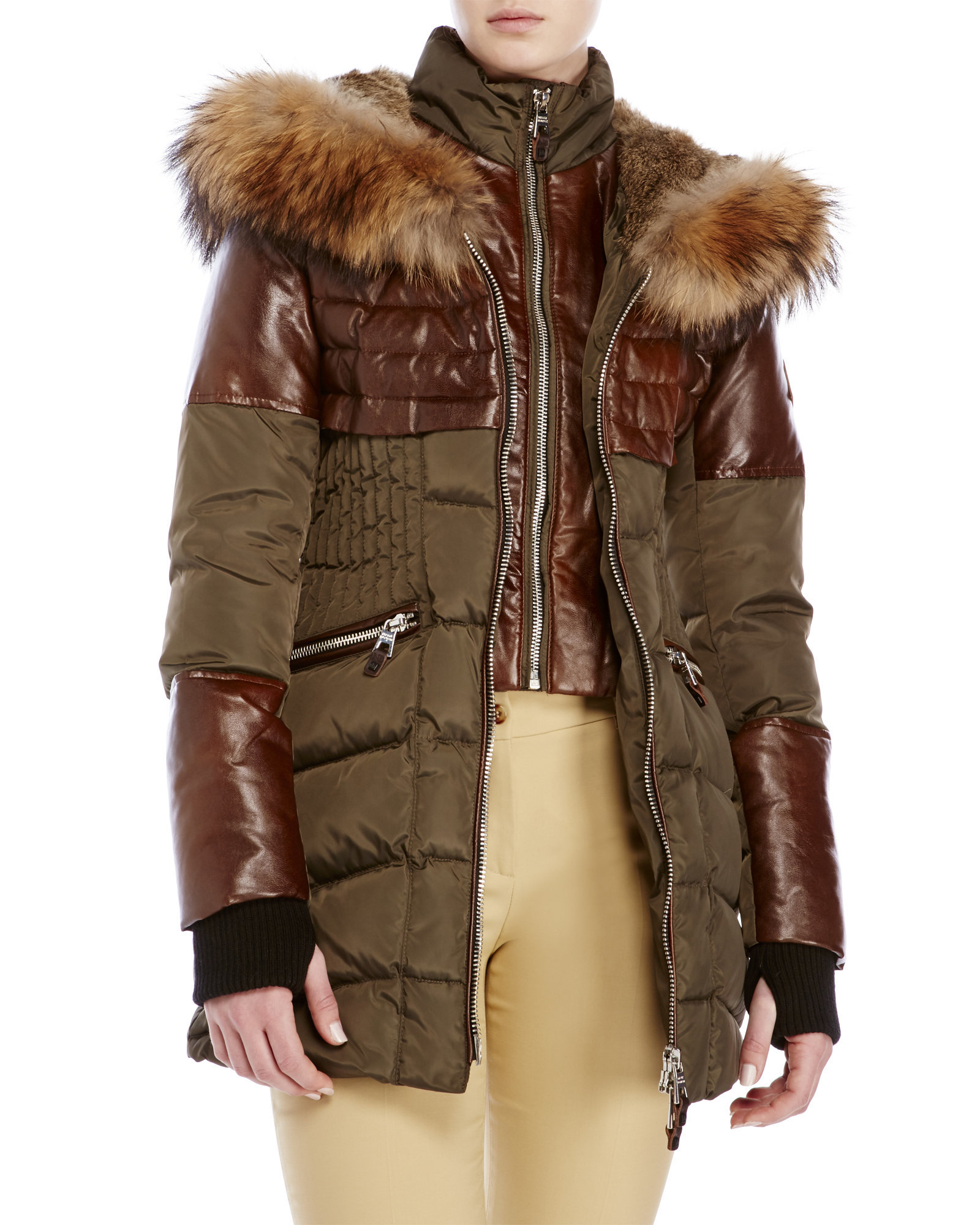 Nicole benisti Hooded Slim Down Parka With Real Fur Trim in Green ...