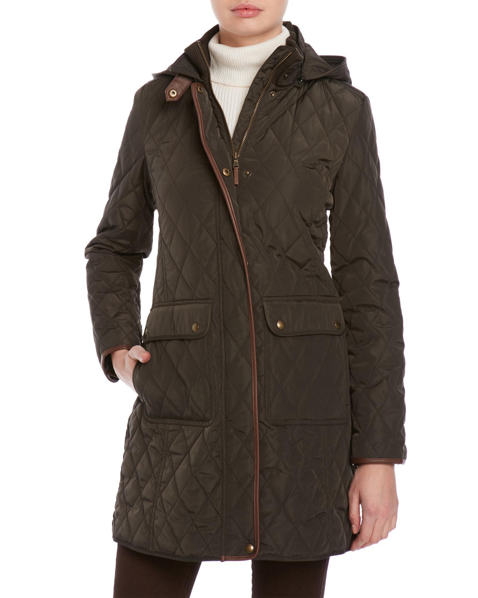 Lauren By Ralph Lauren Quilted Hooded Coat Lyst