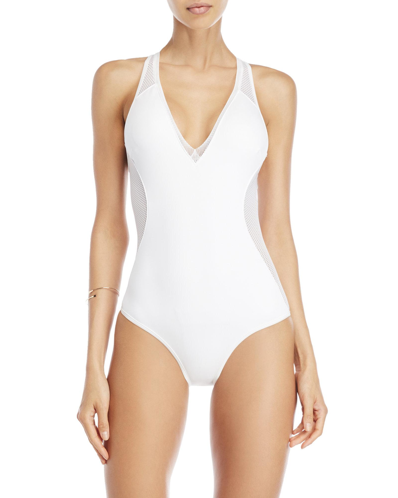 113a55b40acdb Lyst - Stella McCartney White Mesh Trim Neoprene One-piece Swimsuit ...