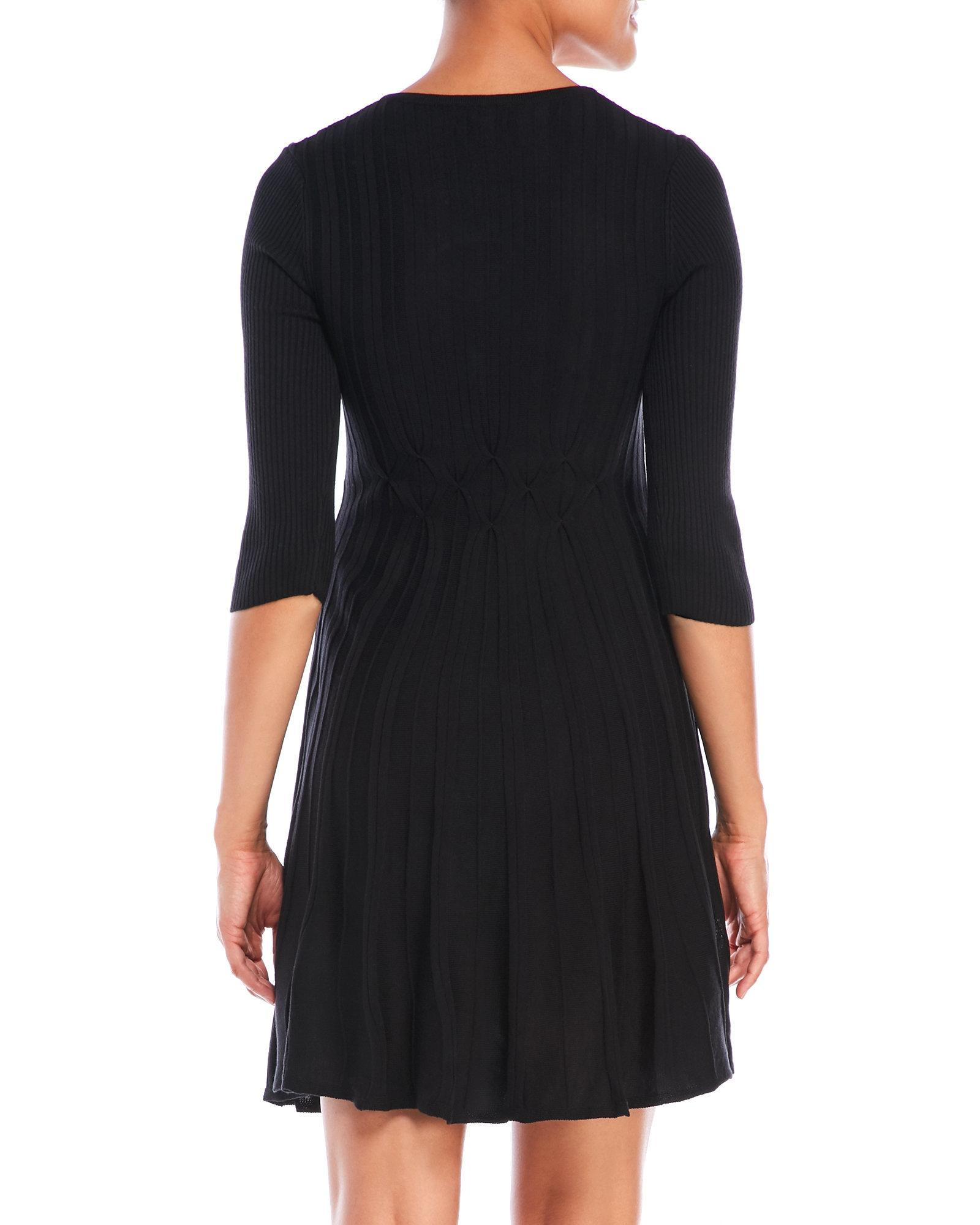 Connected Apparel Textured Sweater Dress With V Neck In