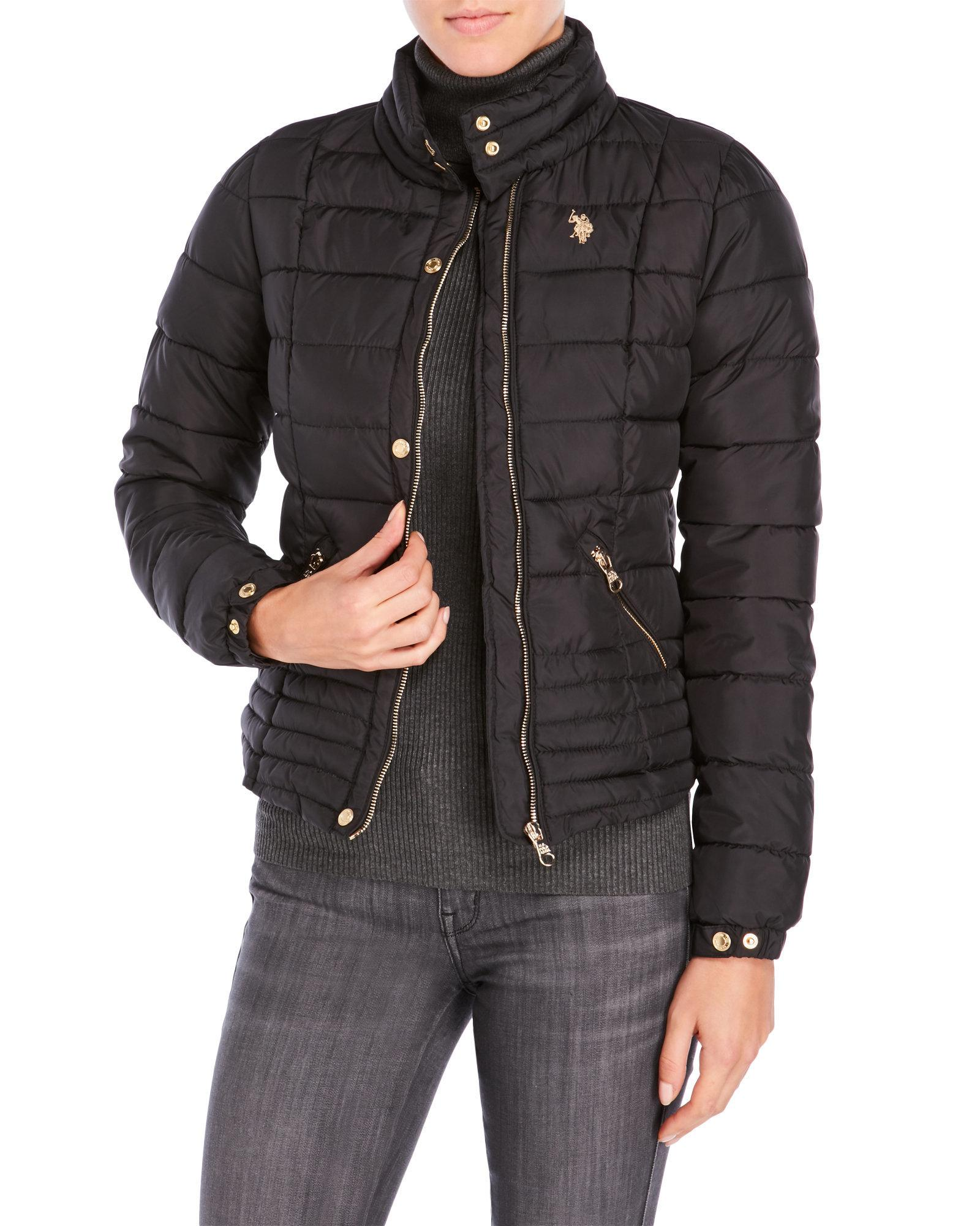 U S Polo Assn Quilted Motorcycle Jacket In Black Lyst