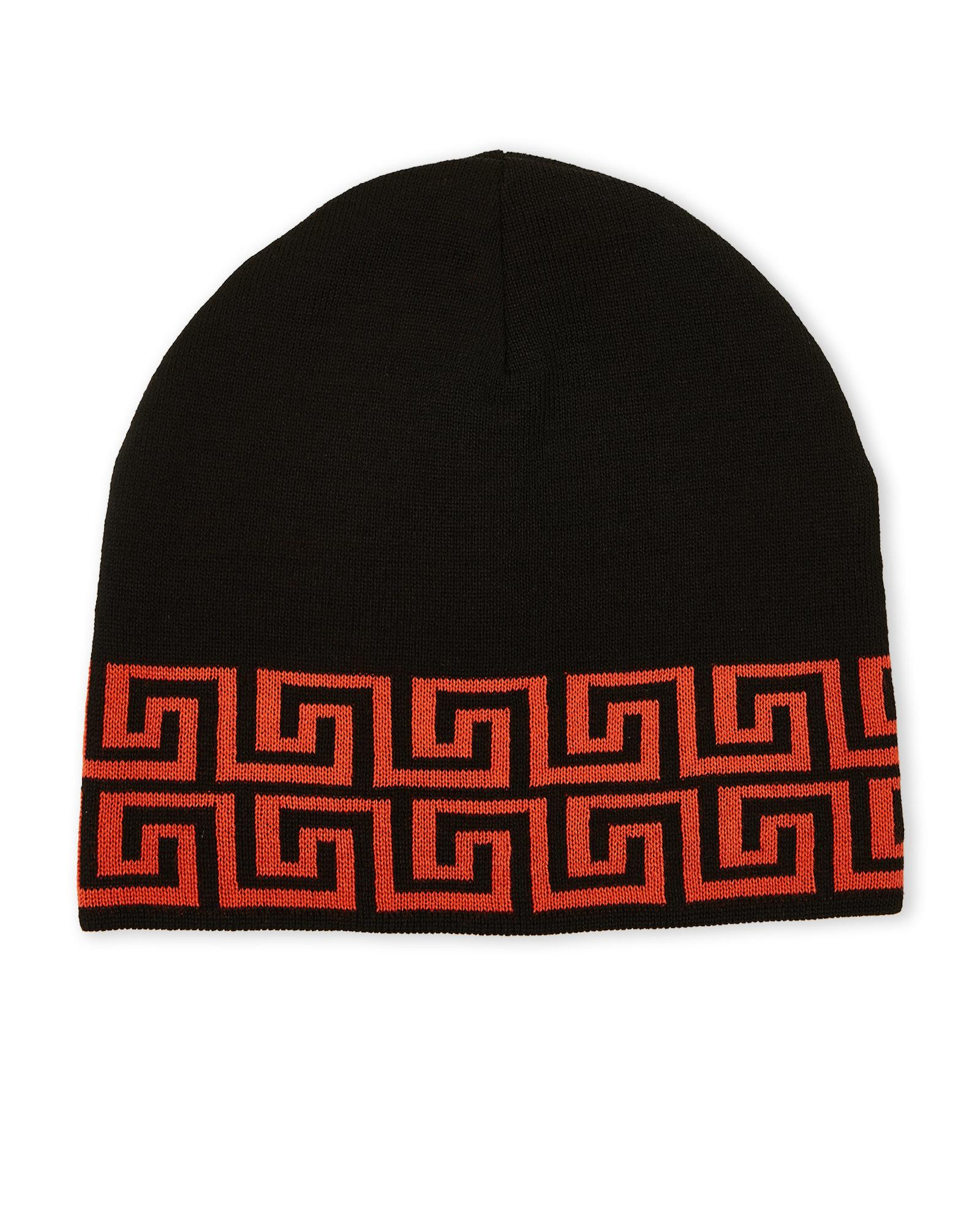 9dc52389a421b ... france lyst versace greek key print knit hat in red for men 6a678 12a29