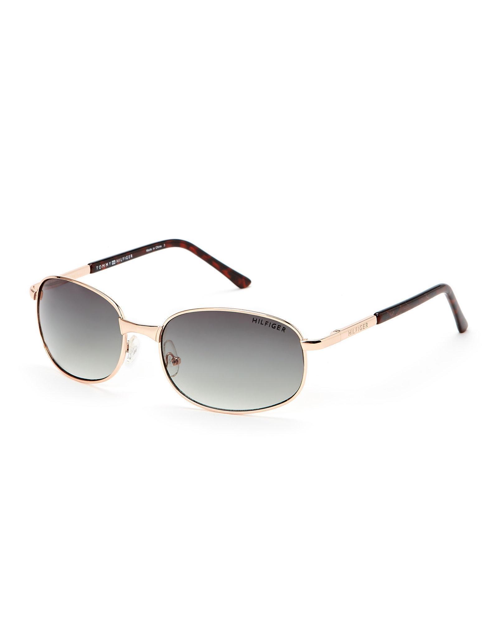 a1499860fb Lyst - Tommy Hilfiger Gold-Tone Steve Oval Sunglasses in Metallic