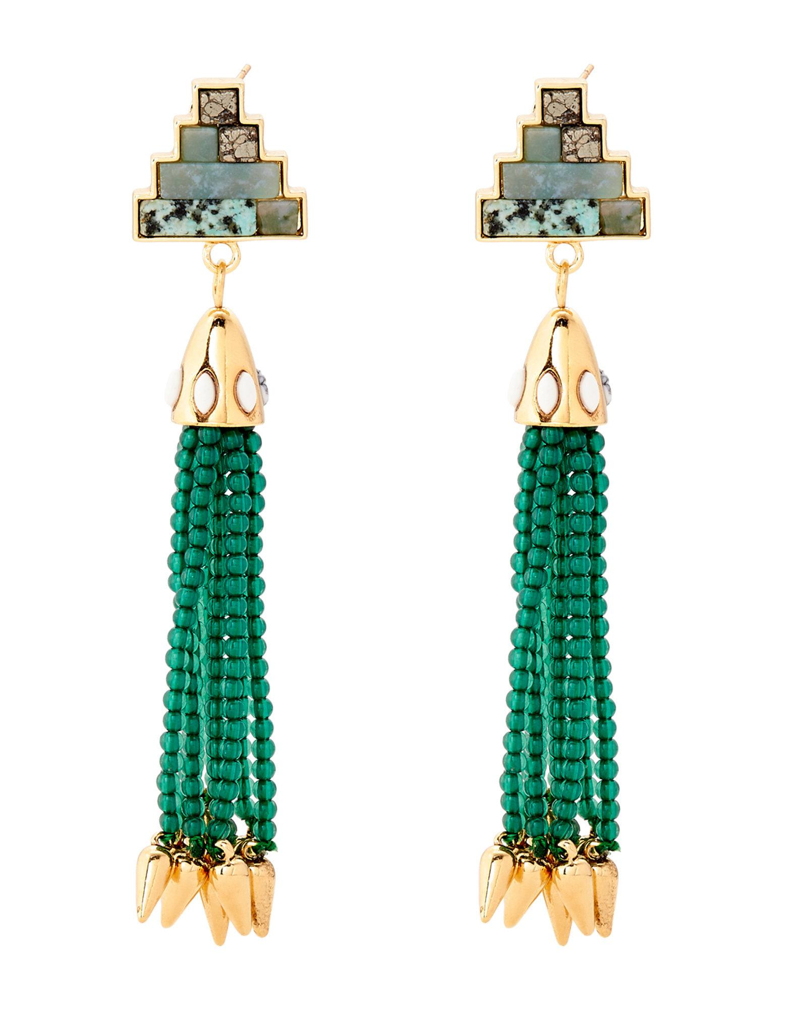 Lulu Frost Beaded Blue Tassel Drop Earrings qvPCPgXCR4